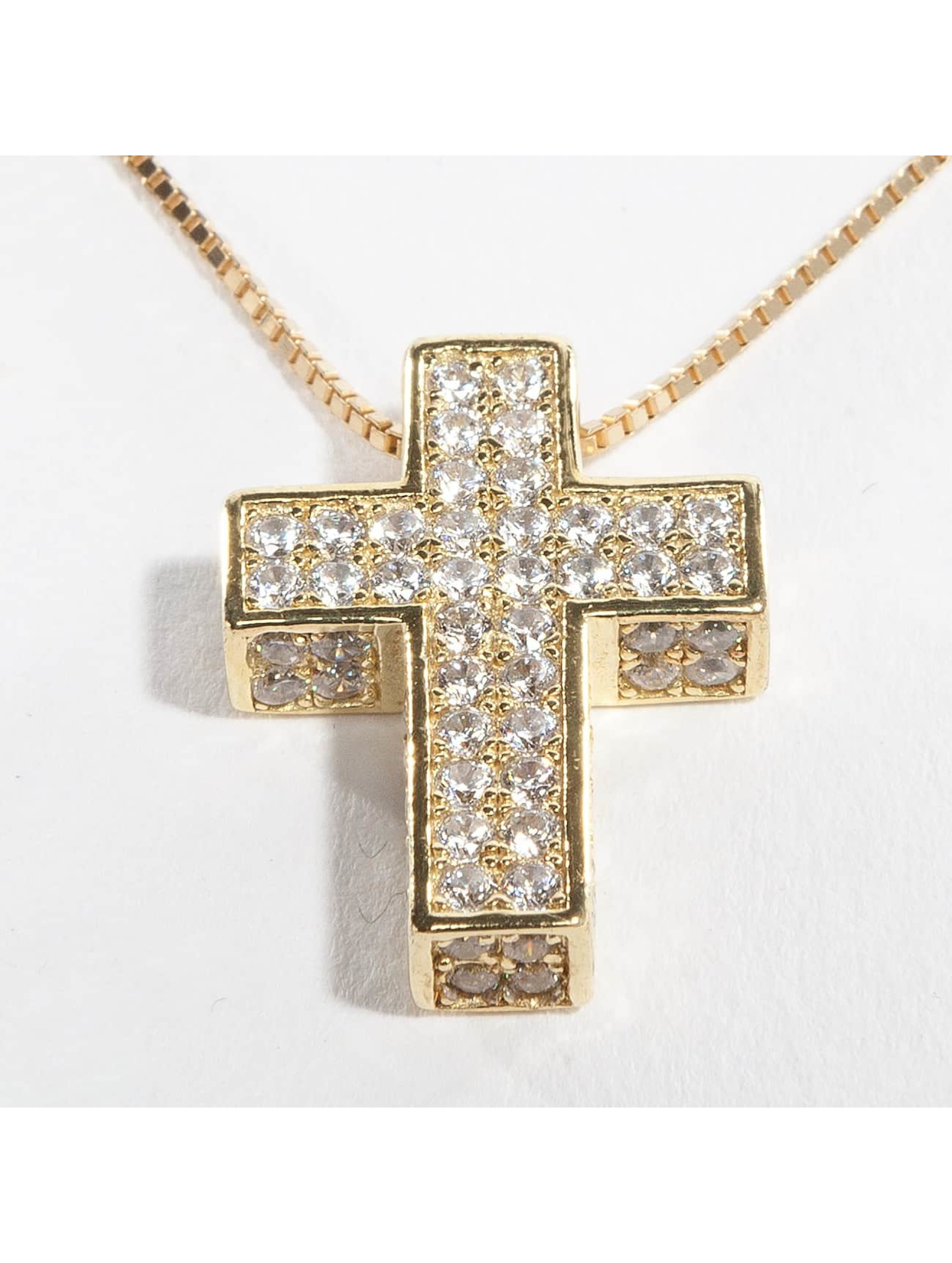KING ICE Necklace Gold_Plated CZ 925 Sterling_Silver Dime Cross gold colored