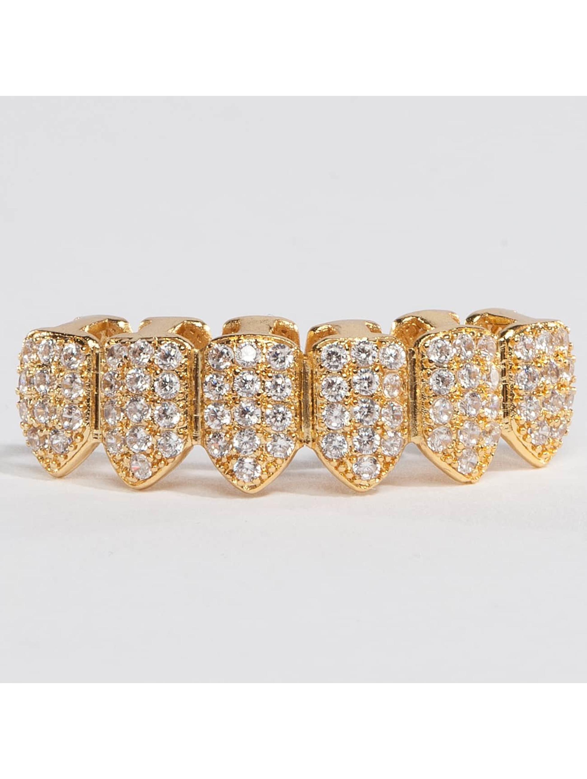 KING ICE Overige Gold_Plated CZ Studded Teeth Bottom goud