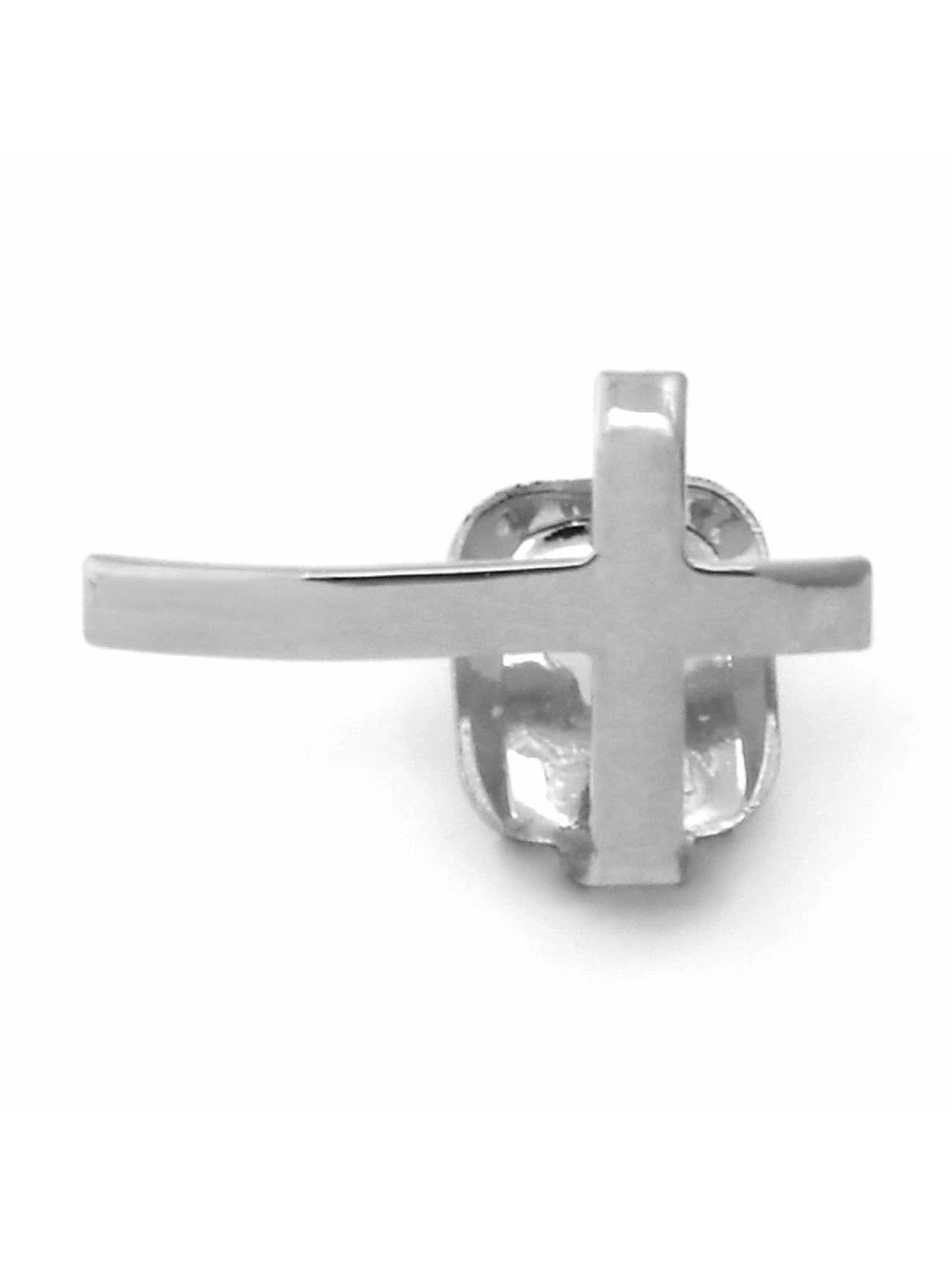 KING ICE Overige Rhodium_Plated Cross Single Tooth Cap Top zilver
