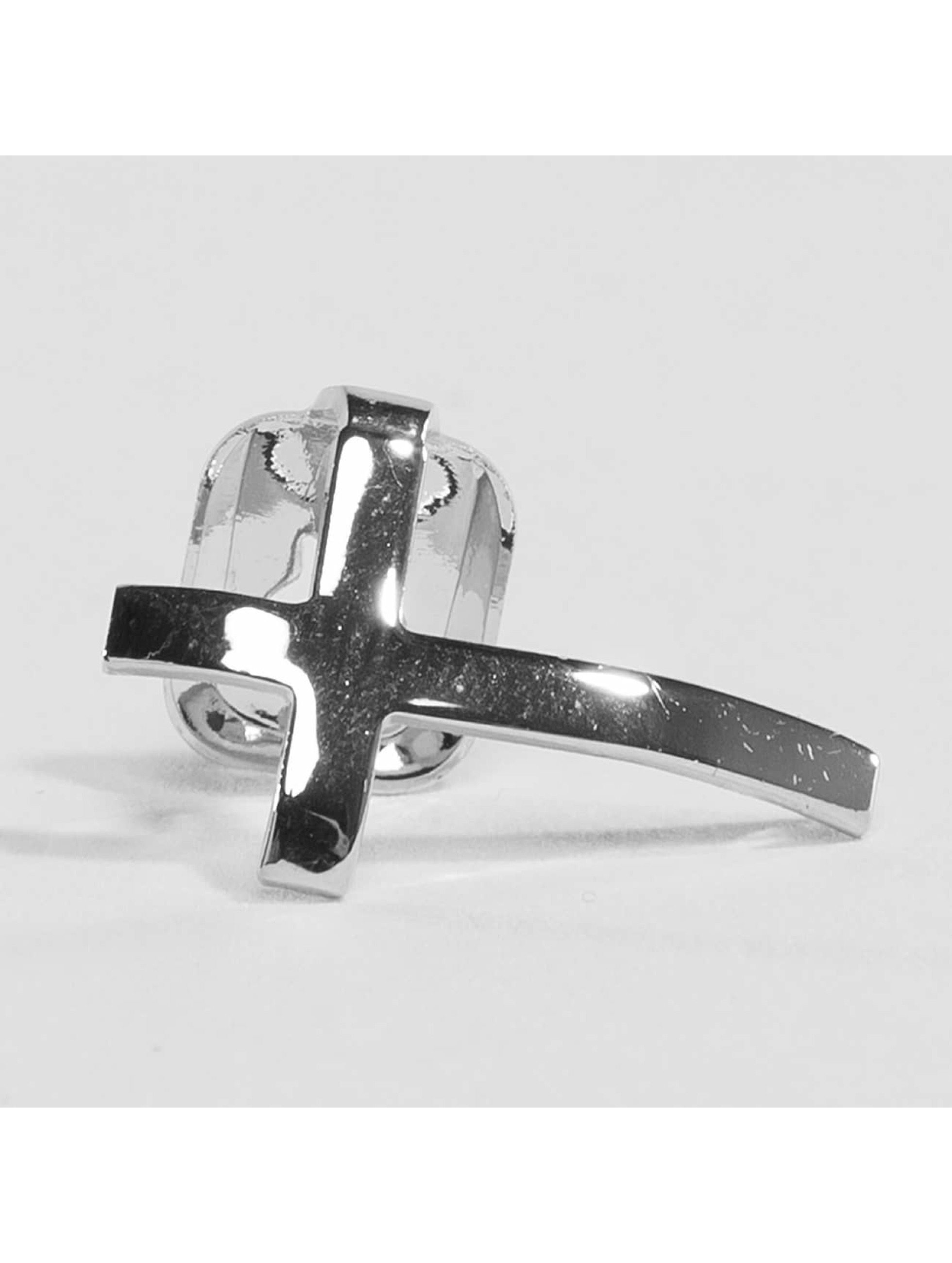 KING ICE Pozostałe Rhodium_Plated Cross Single Tooth Cap Top srebrny