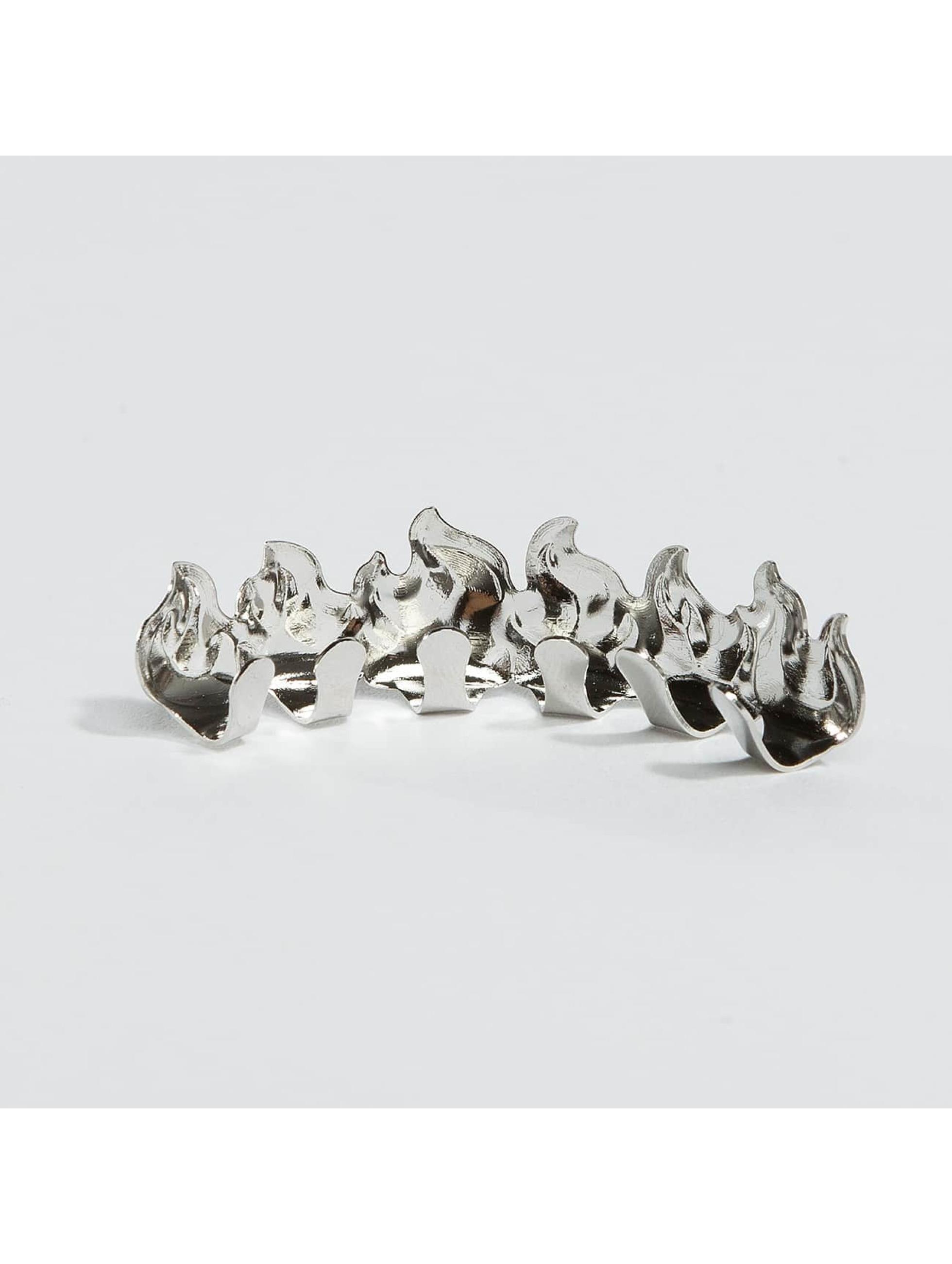 KING ICE Pozostałe Rhodium_Plated Flame Top srebrny