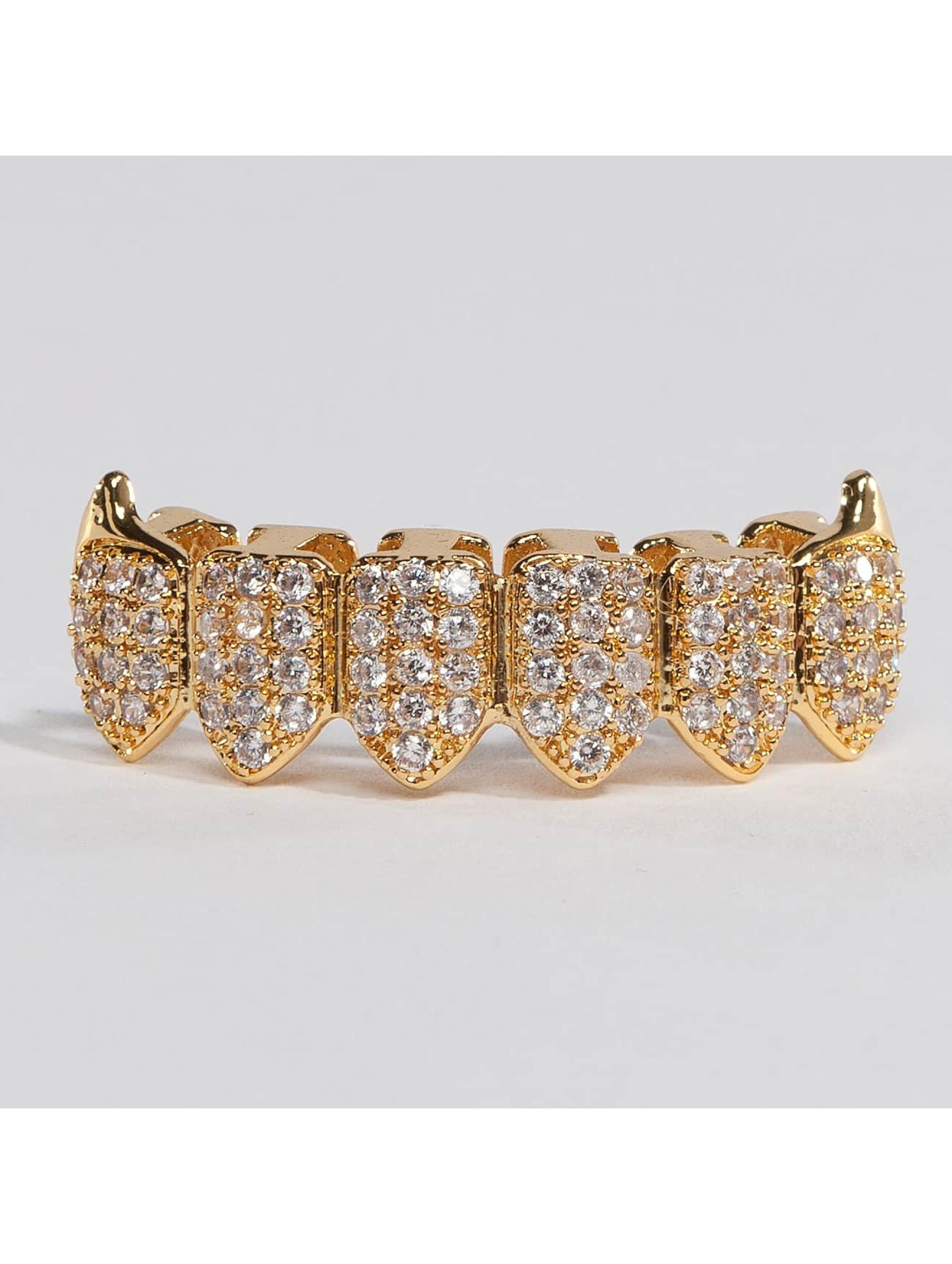 KING ICE Pozostałe Gold_Plated CZ Dracula Teeth Bottom zloty
