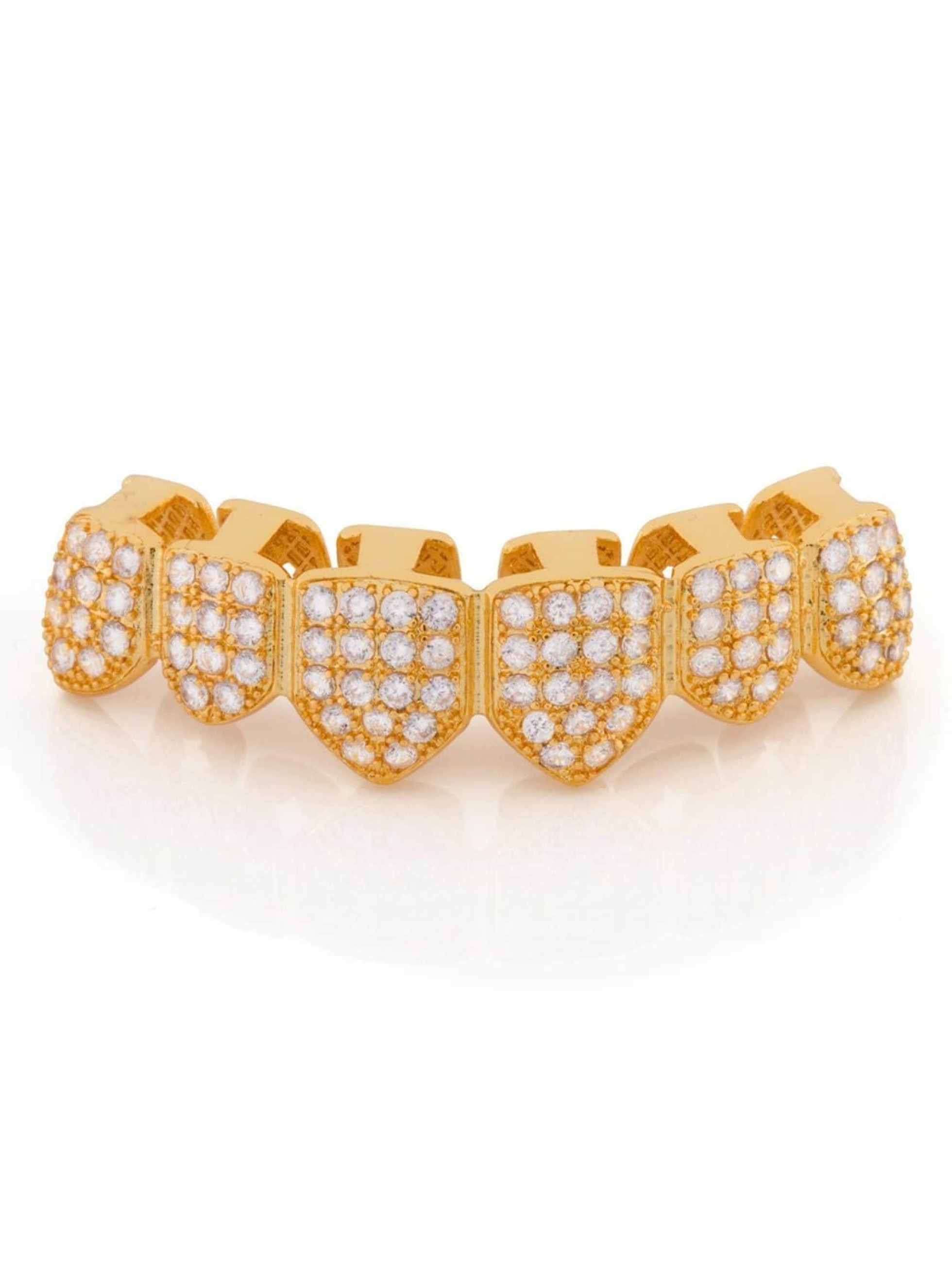 KING ICE Pozostałe Gold_Plated CZ Studded Teeth Bottom zloty