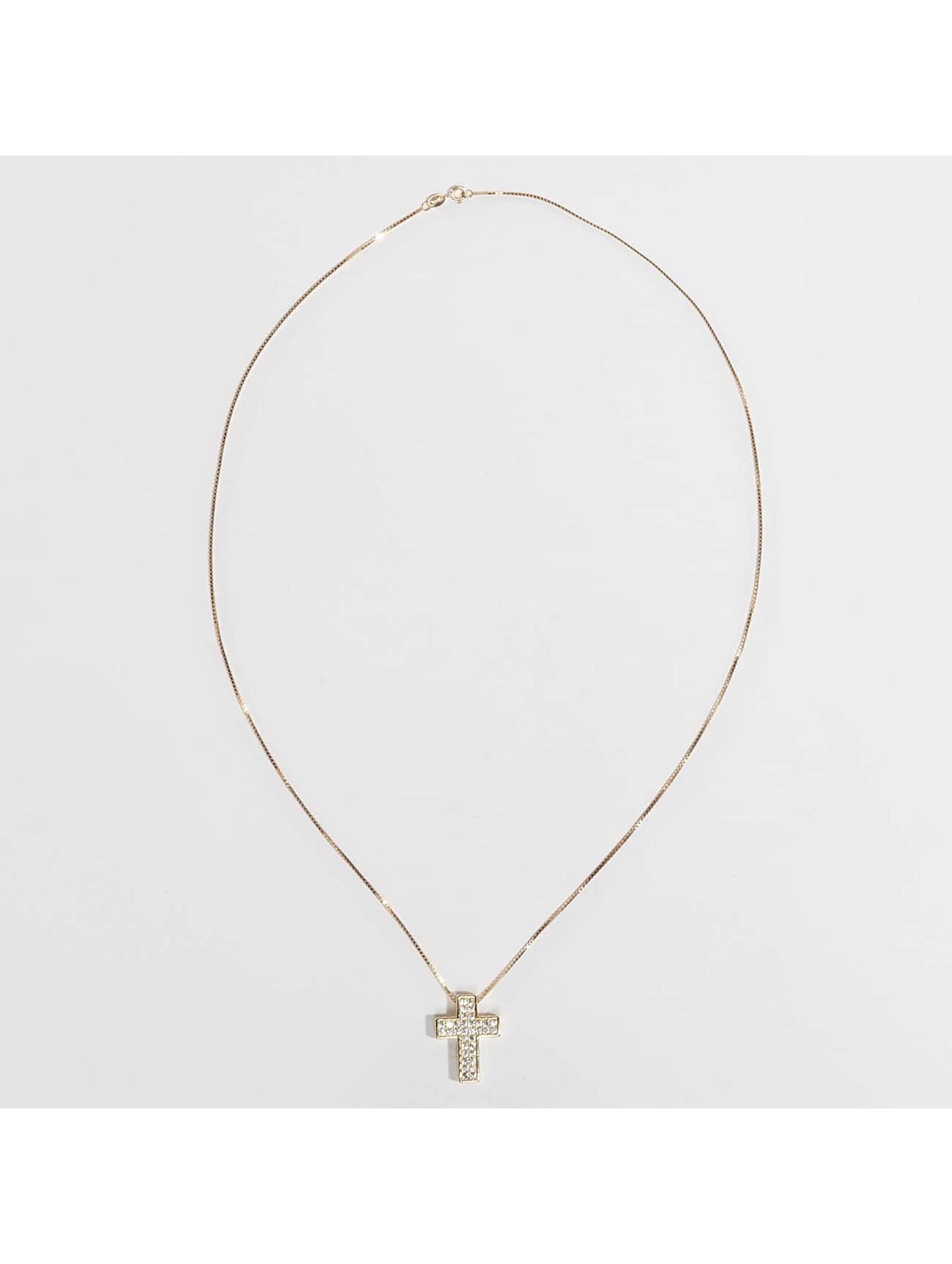KING ICE Retiazky Gold_Plated CZ 925 Sterling_Silver Dime Cross zlatá
