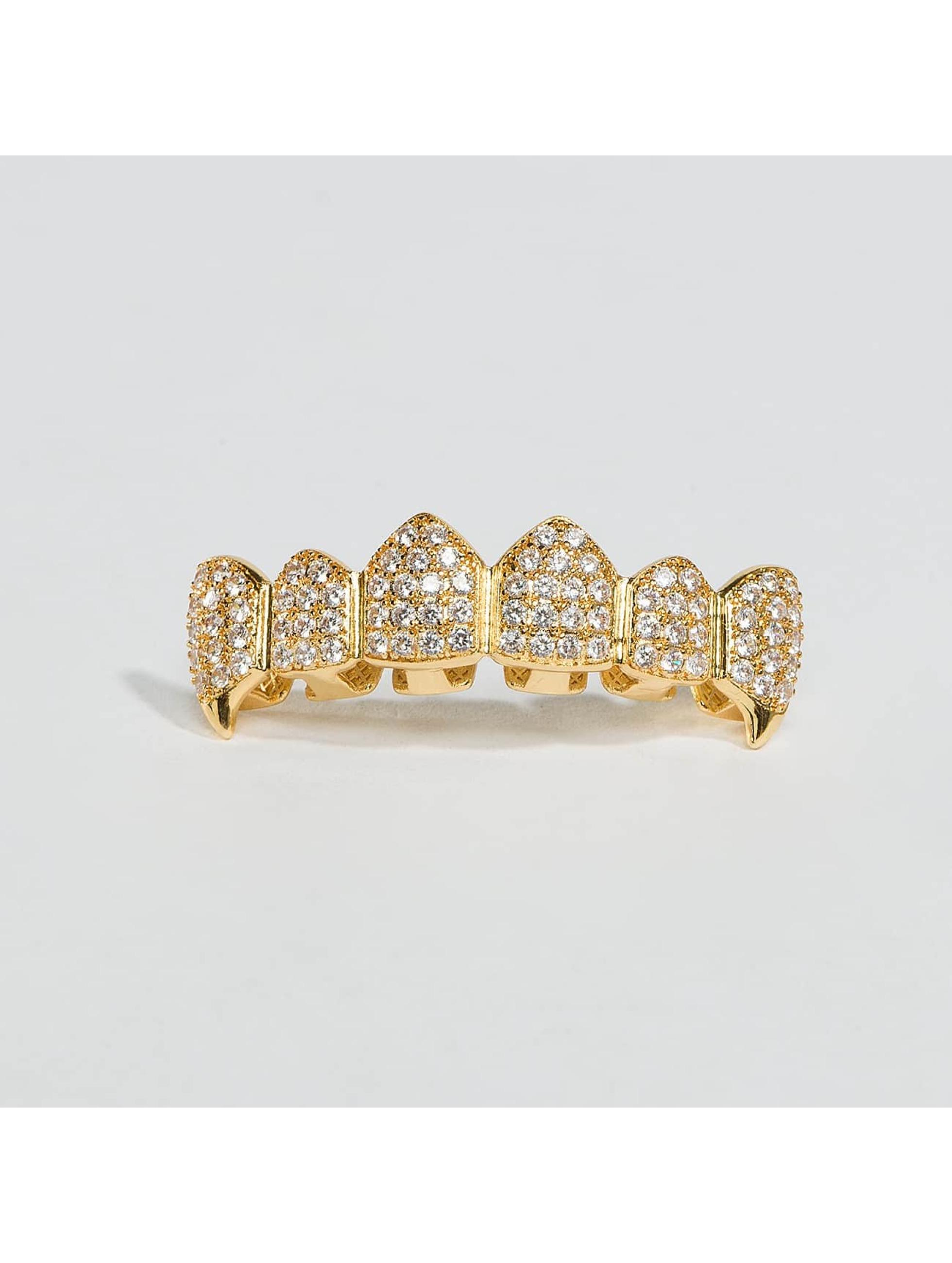 KING ICE Sonstige Gold_Plated CZ Dracula Teeth Top goldfarben