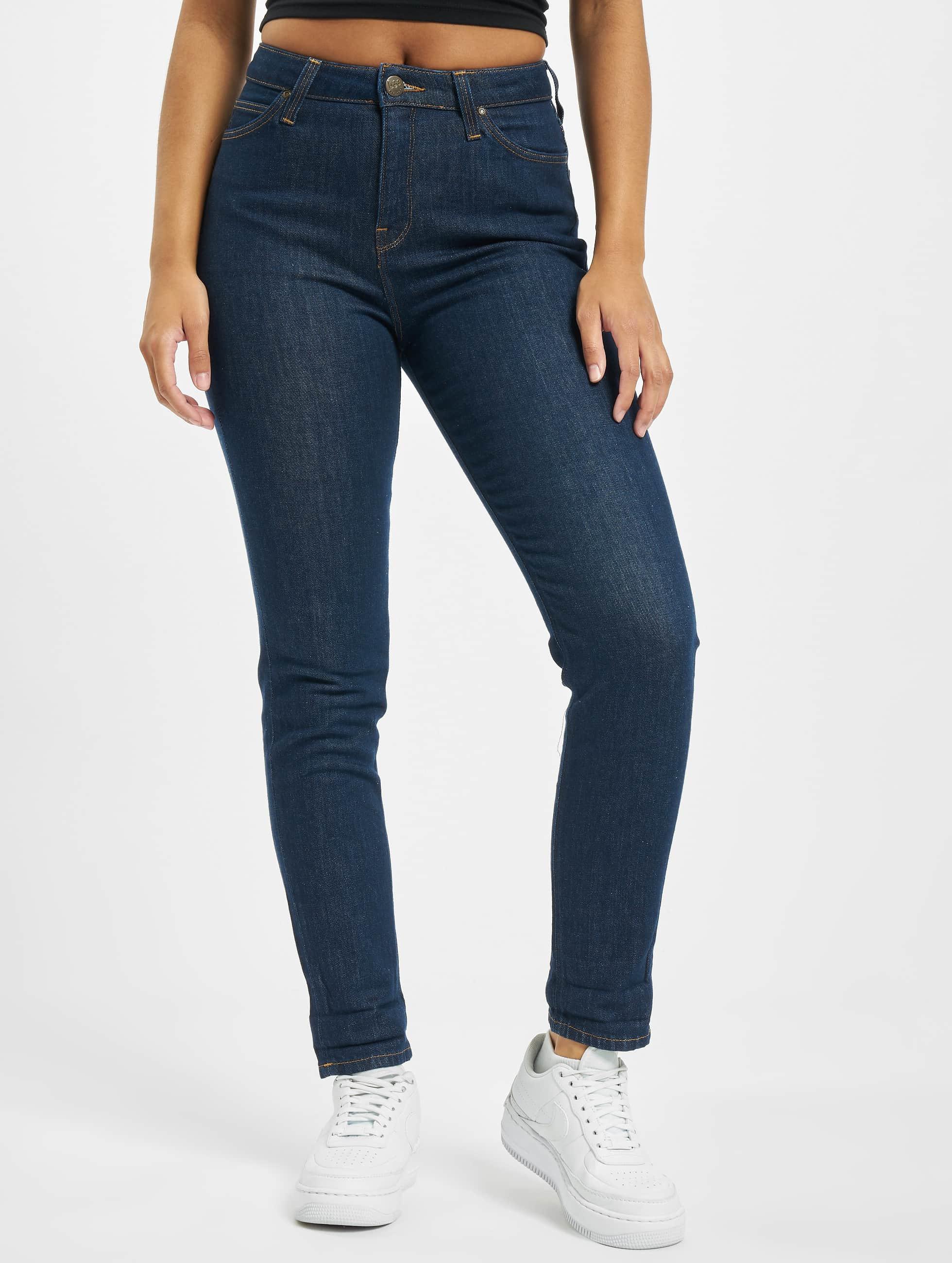 Lee dżinsy przylegające Mom niebieski