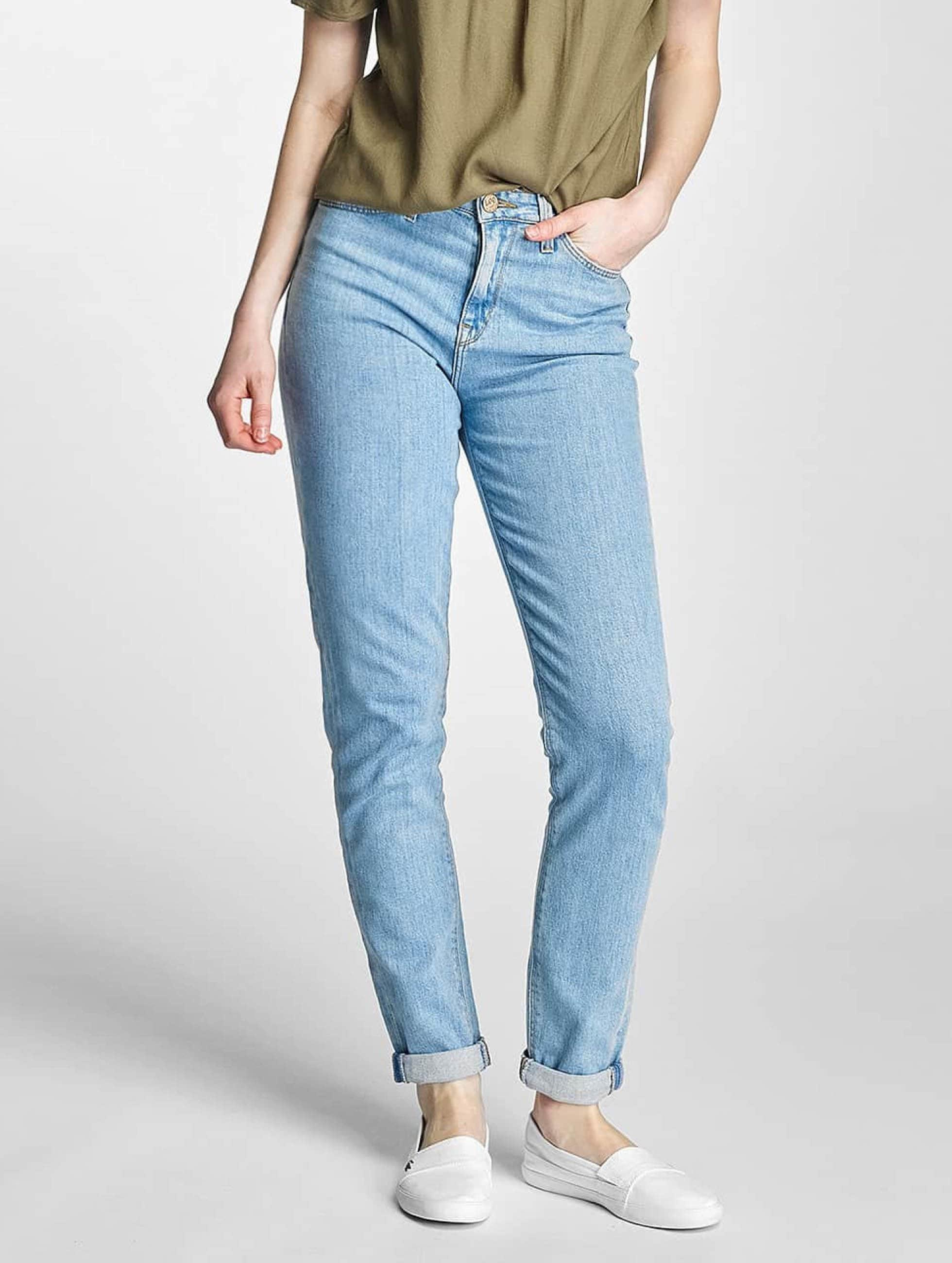 Lee dżinsy przylegające Croppend Tapered niebieski
