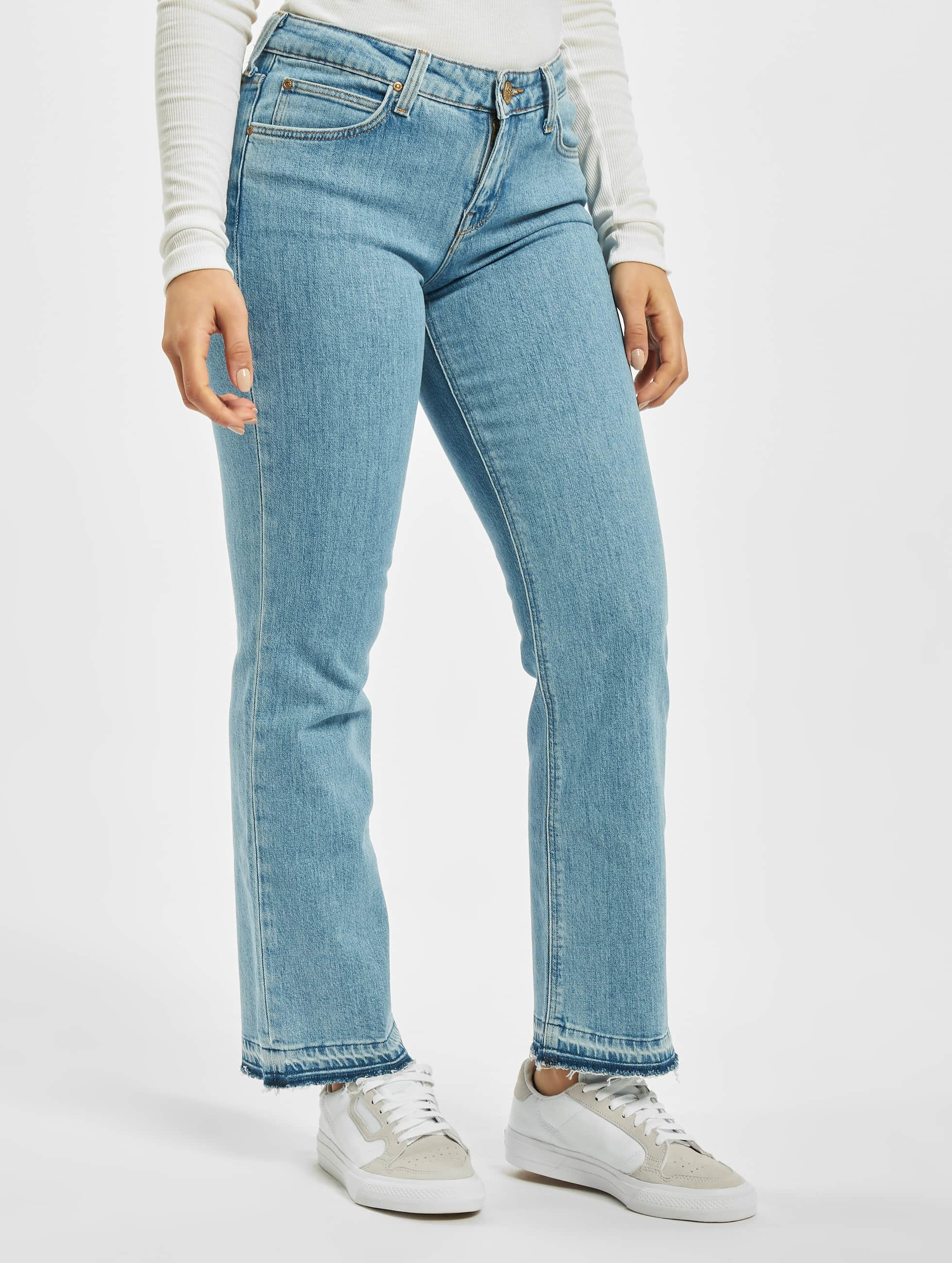 Straight Fit Jeans Cropped Boot in blau
