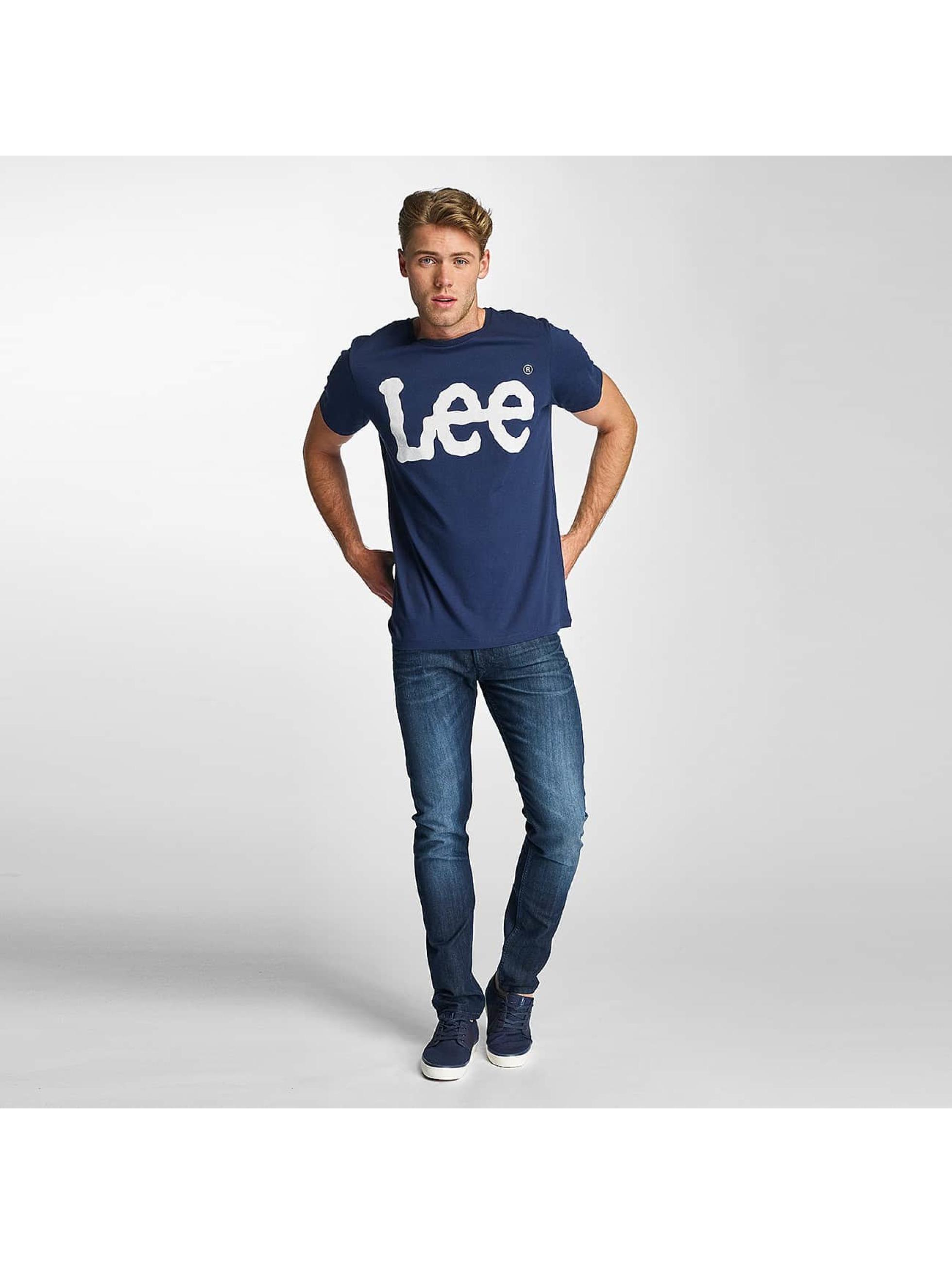 Lee T-Shirty Logo niebieski