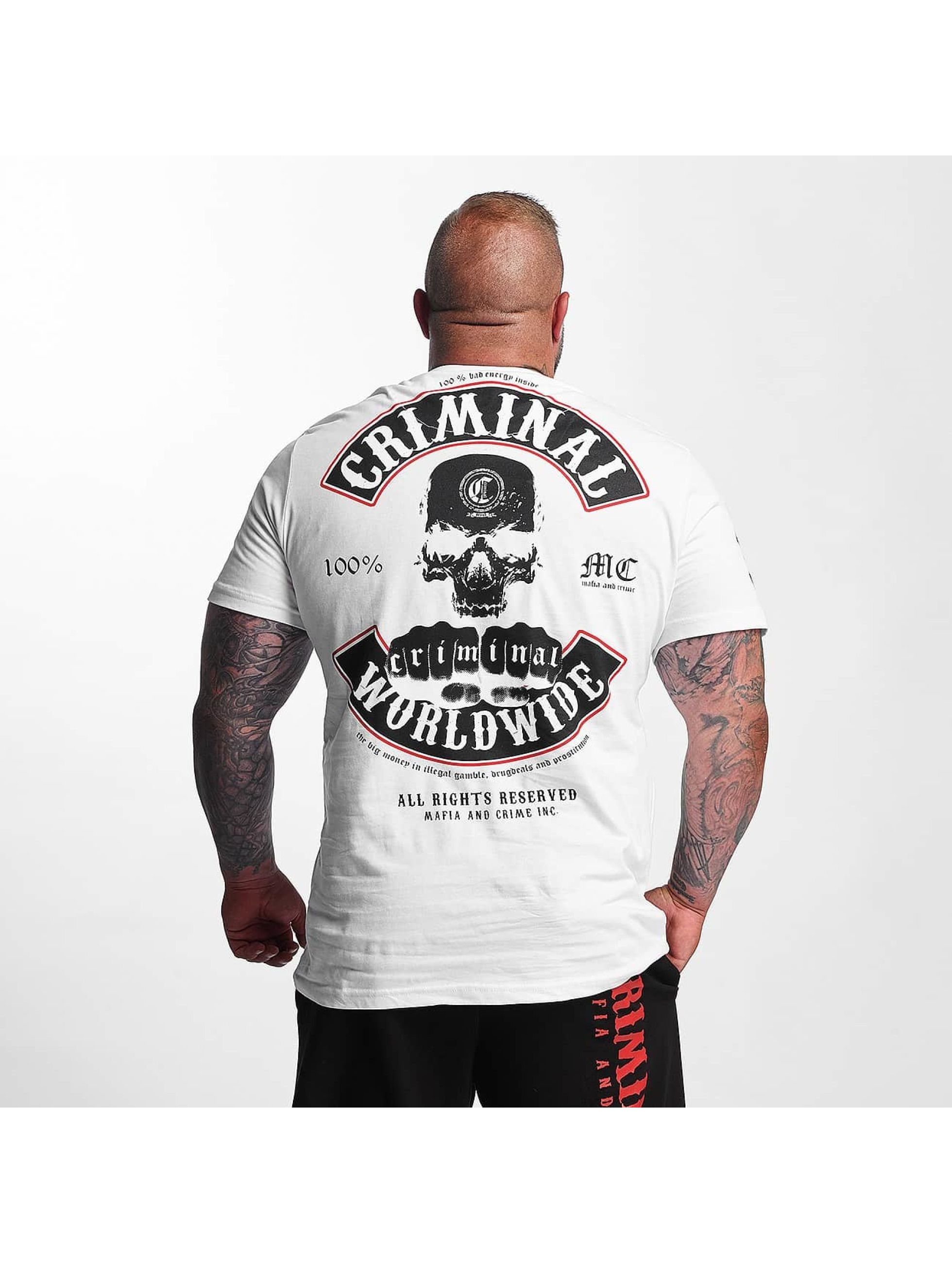 Mafia & Crime Camiseta Criminal Worldwide blanco
