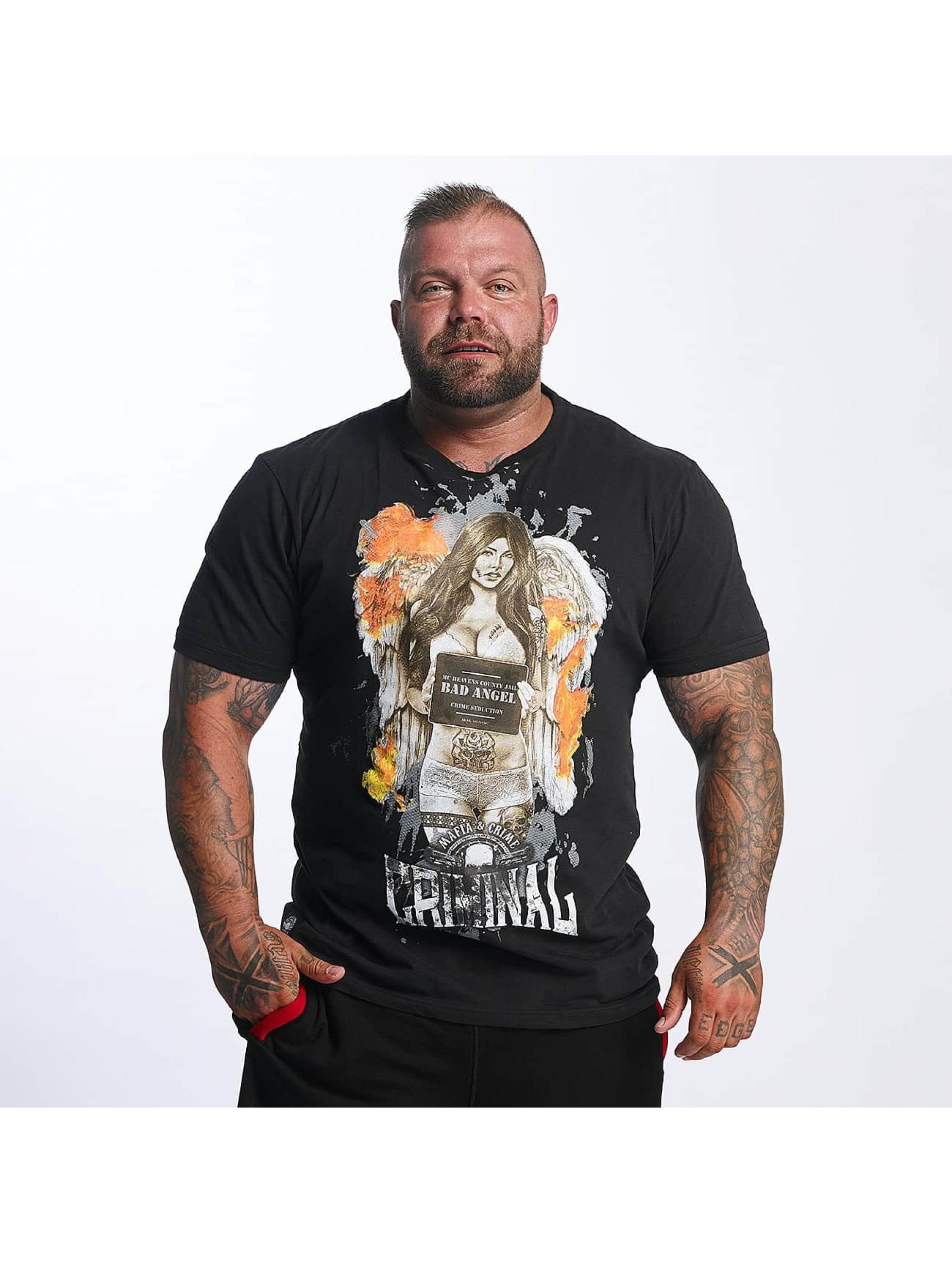 Mafia & Crime Camiseta Bad Angel Crime Seduction negro
