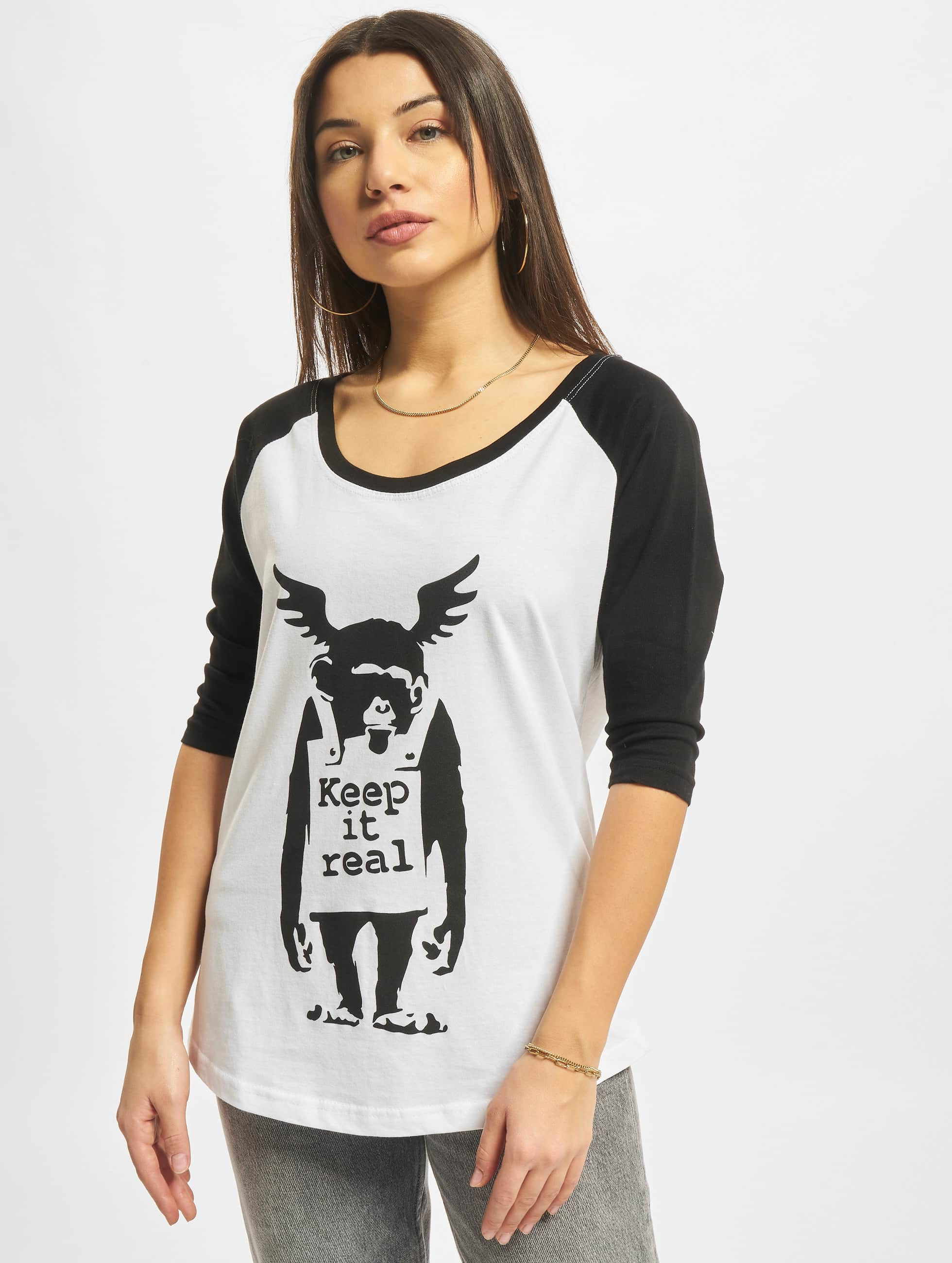 Merchcode Camiseta Ladies Banksy Ape Raglan blanco