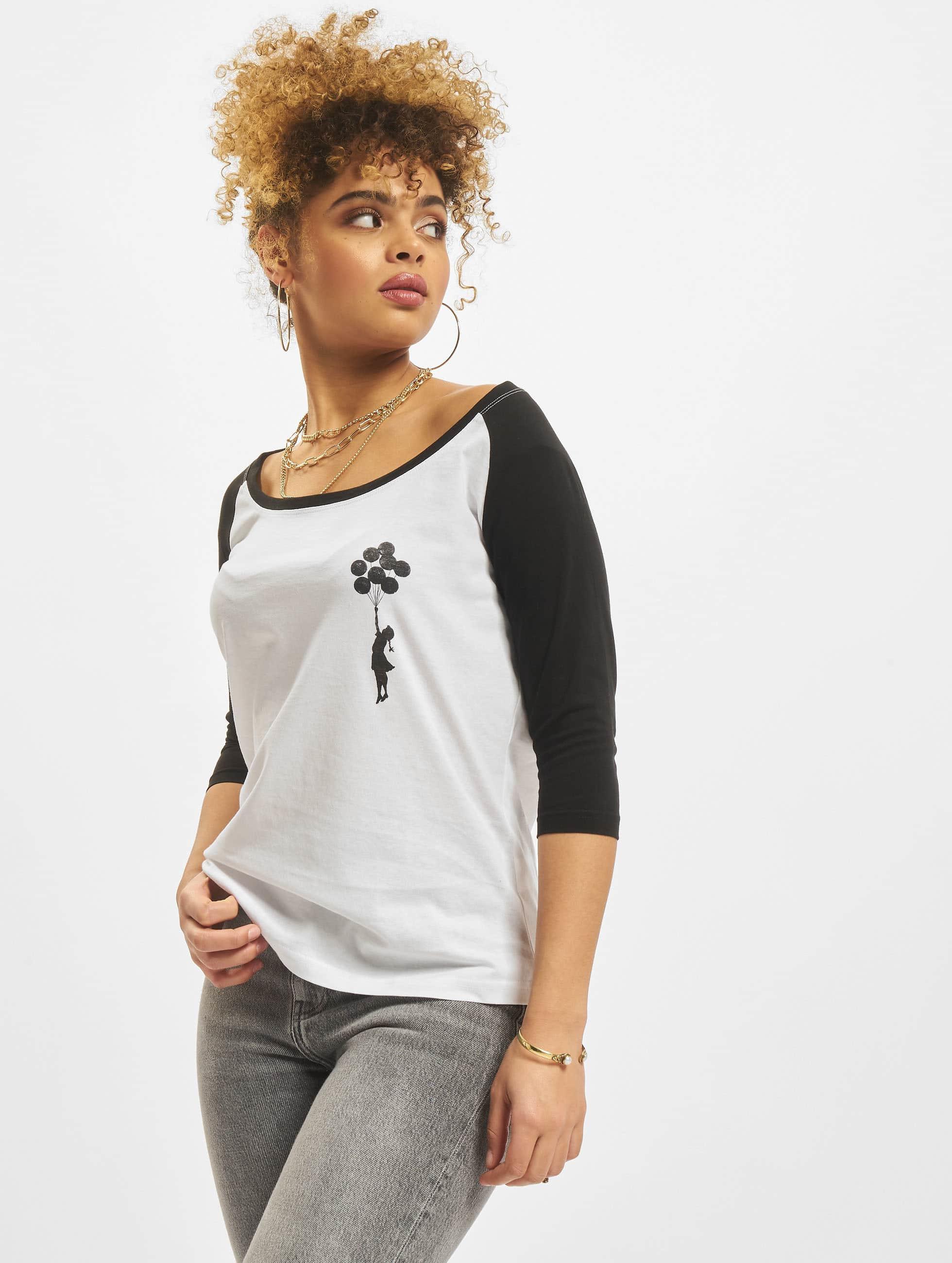 Merchcode Camiseta de manga larga Ladies Banksy Balloons Raglan blanco