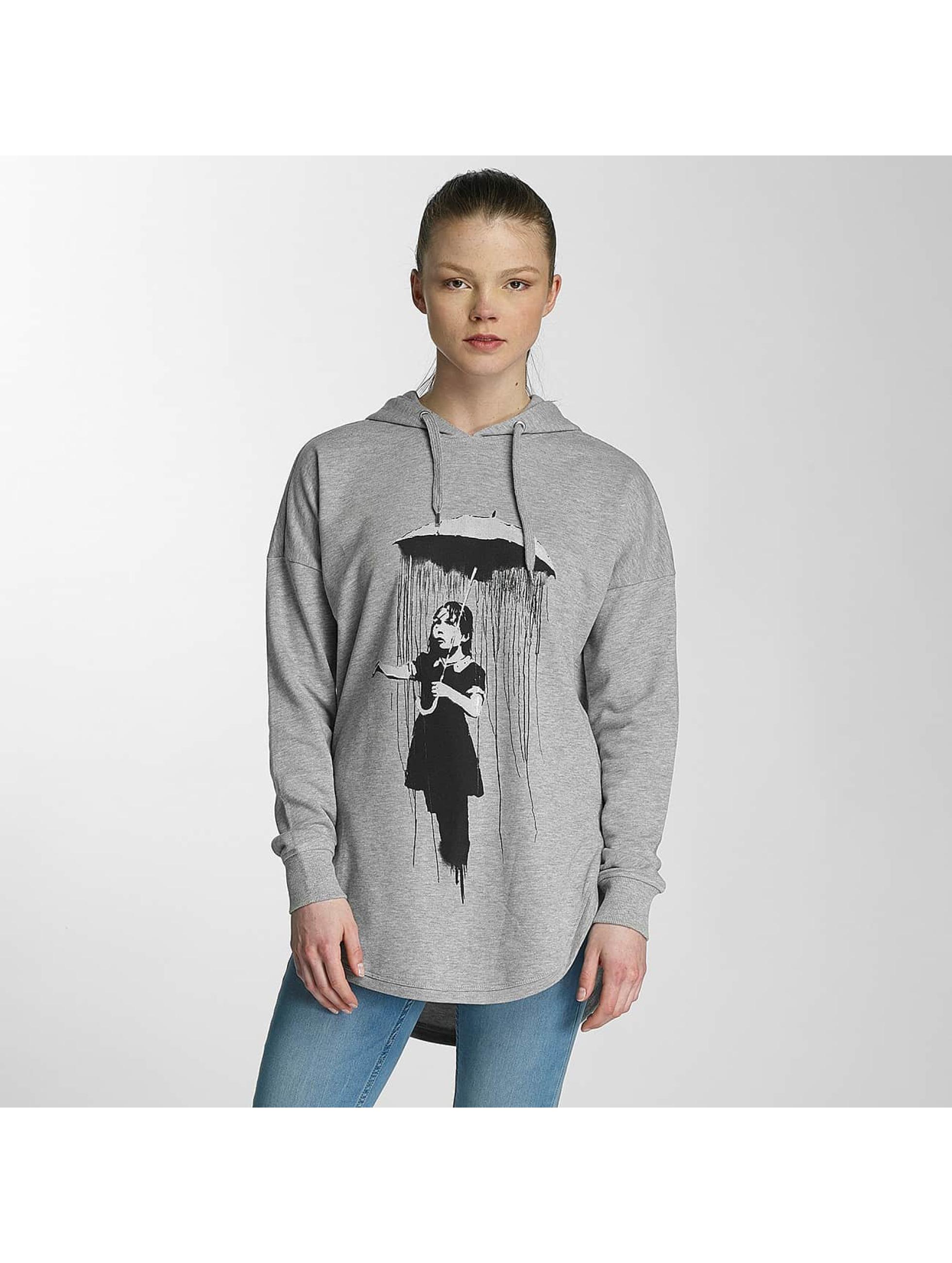 Merchcode Felpa con cappuccio Ladies Banksy Umbrella Oversized grigio