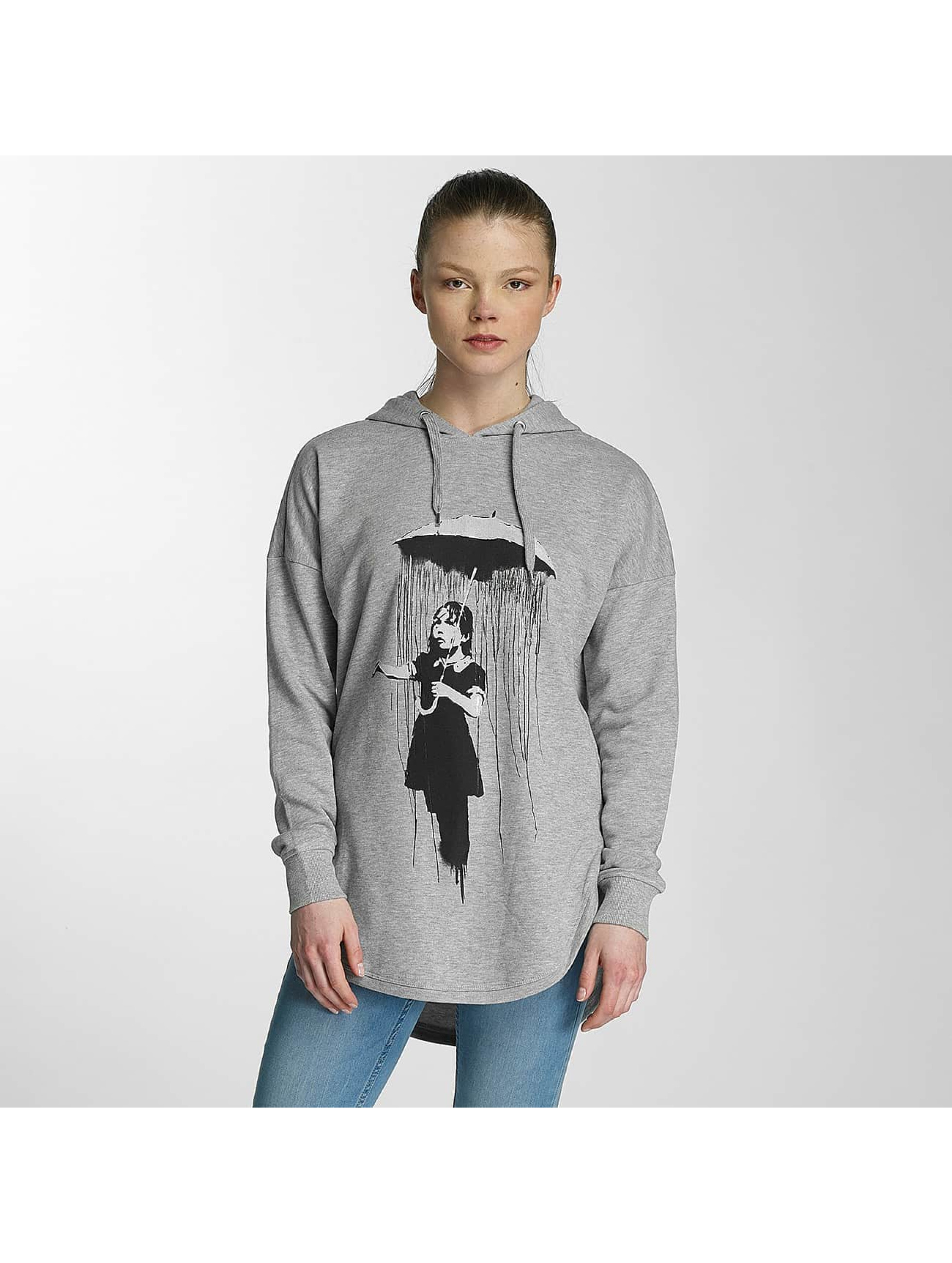 Merchcode Hoodies Ladies Banksy Umbrella Oversized grå