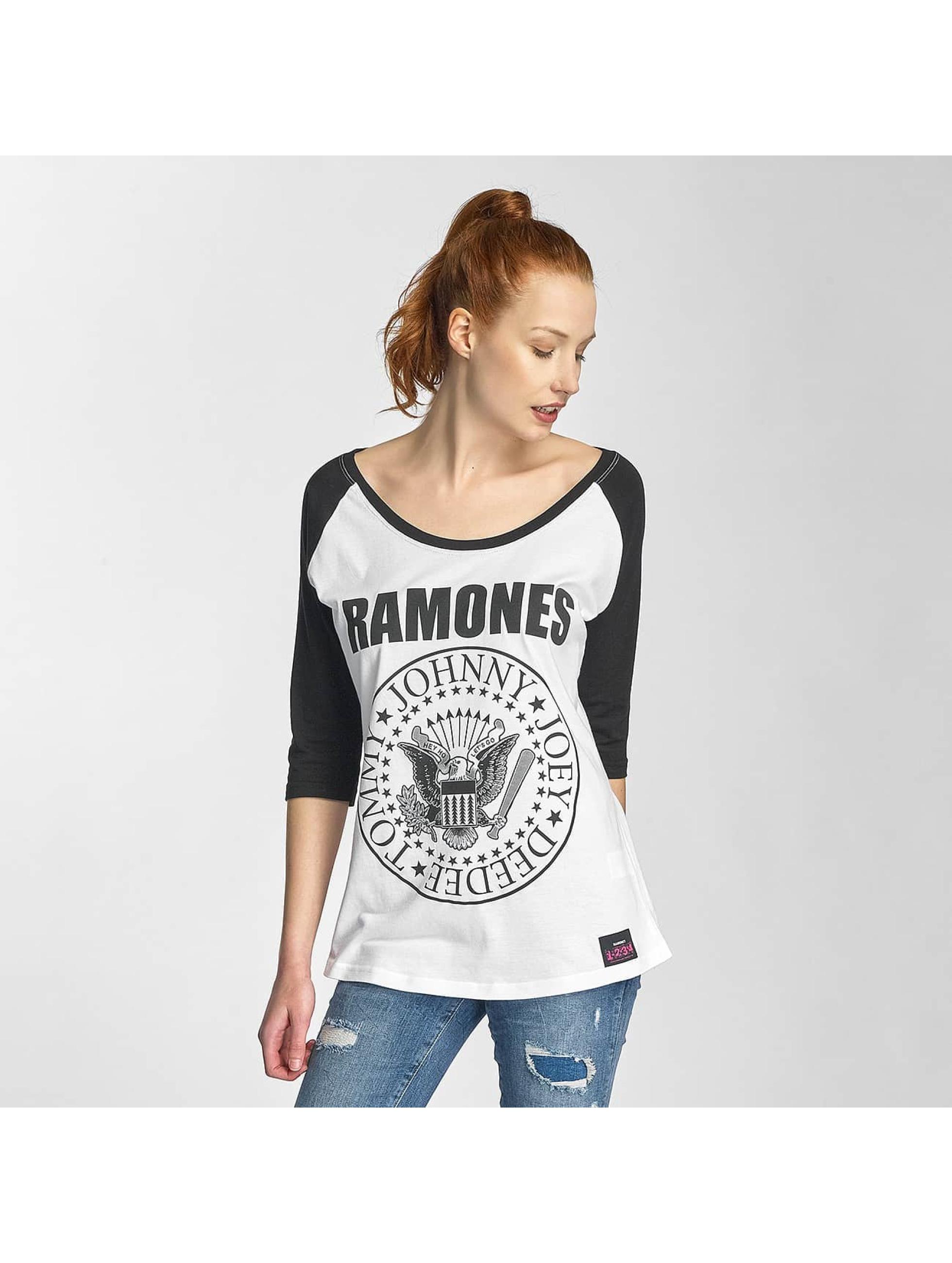 Merchcode Longsleeve Ladies Ramones Circle Raglan weiß