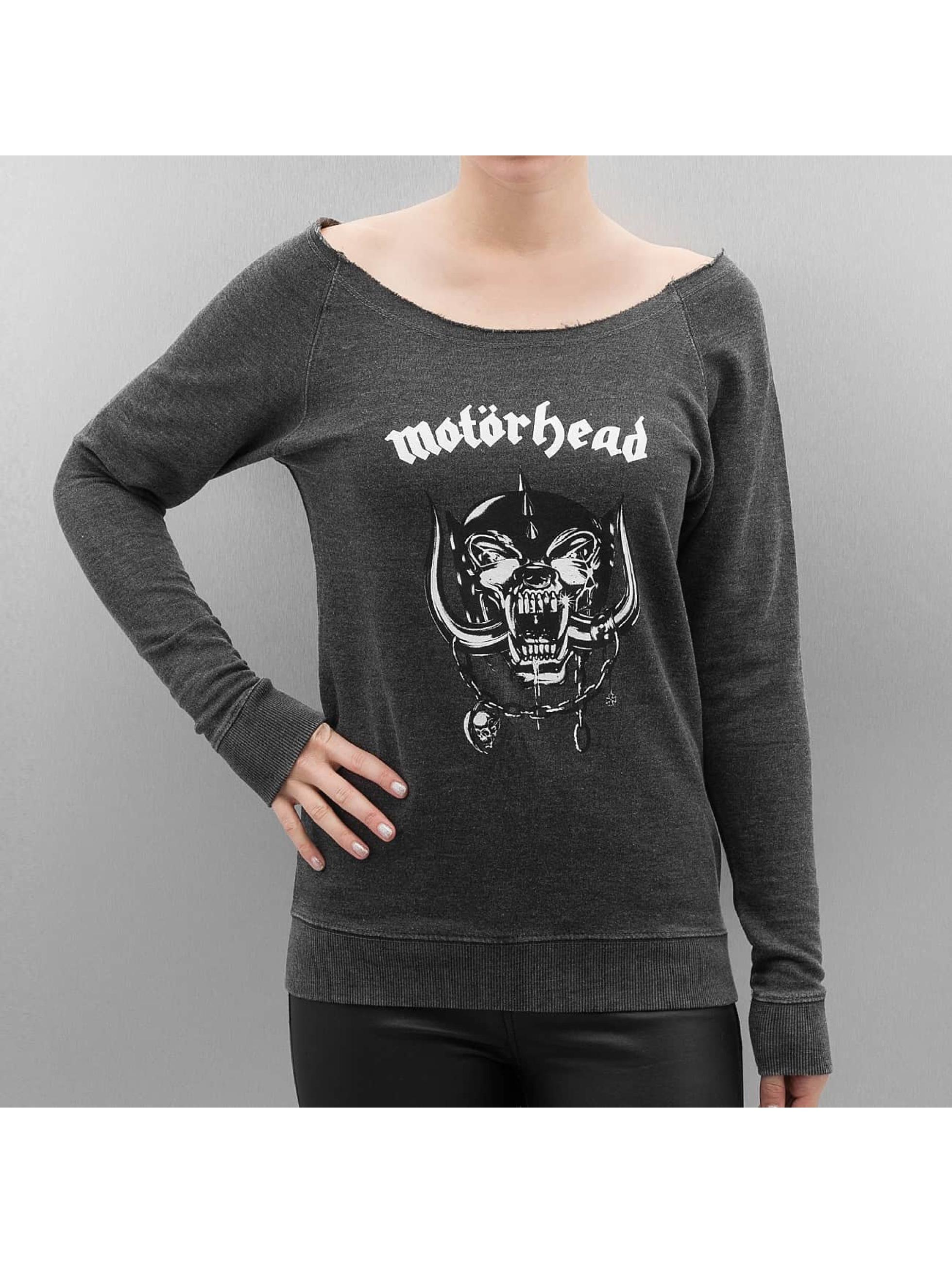 Merchcode Pulóvre Ladies Motörhead Logo Burnout Open Edge šedá