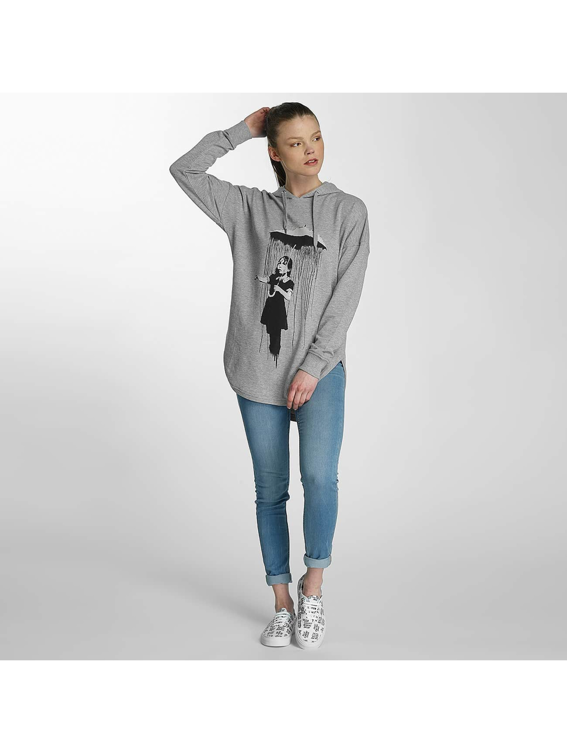 Merchcode Sweat capuche Ladies Banksy Umbrella Oversized gris