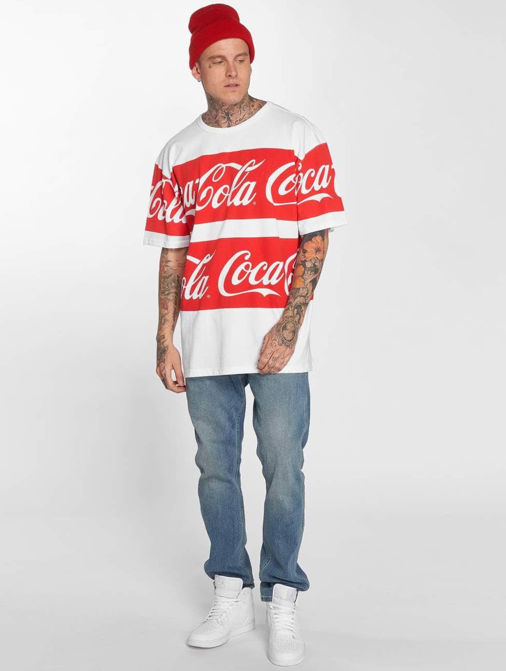 Merchcode T-Shirt Coca Cola Stripe Oversized blanc