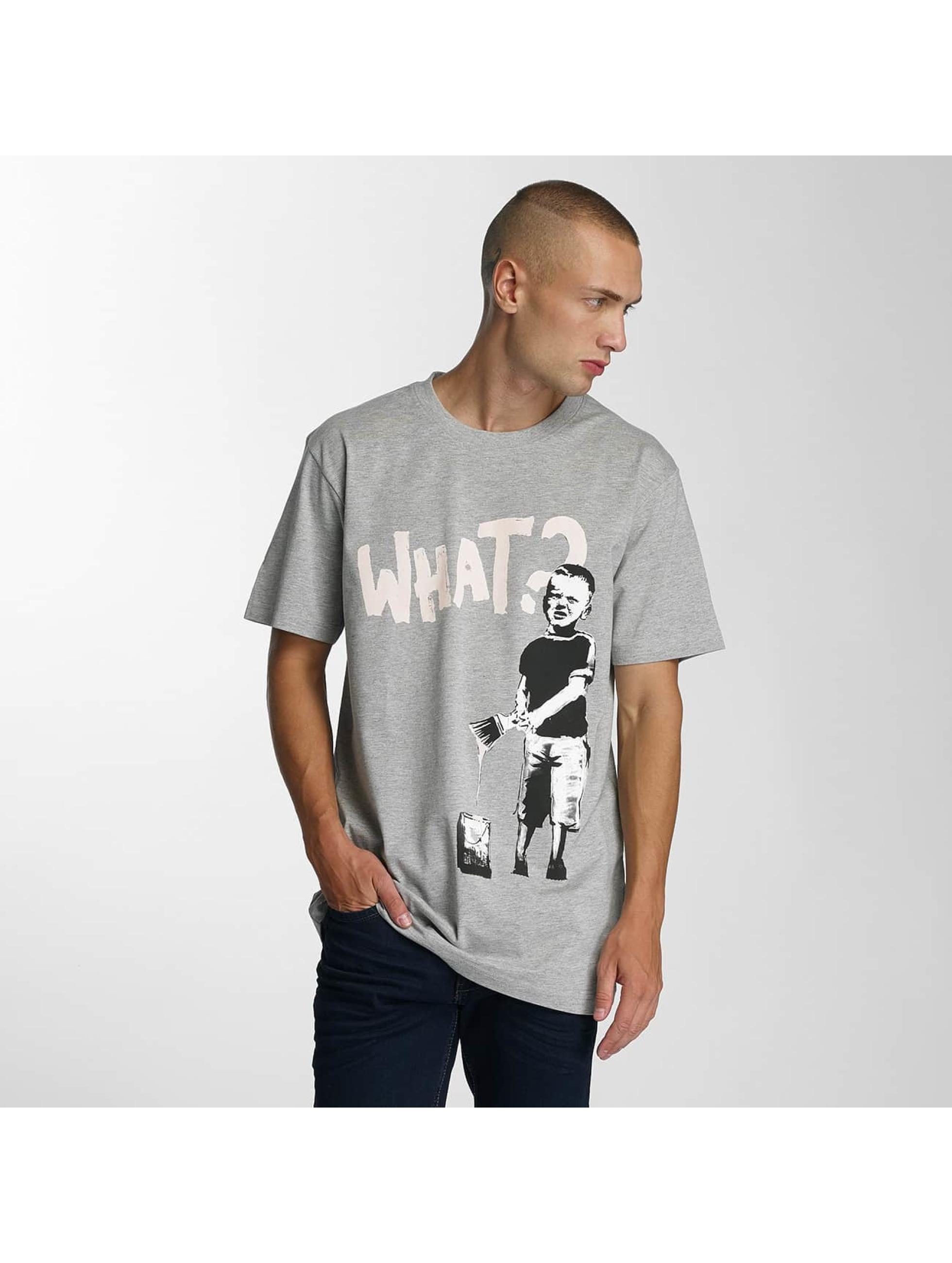 Merchcode t-shirt Banksy What Boy grijs