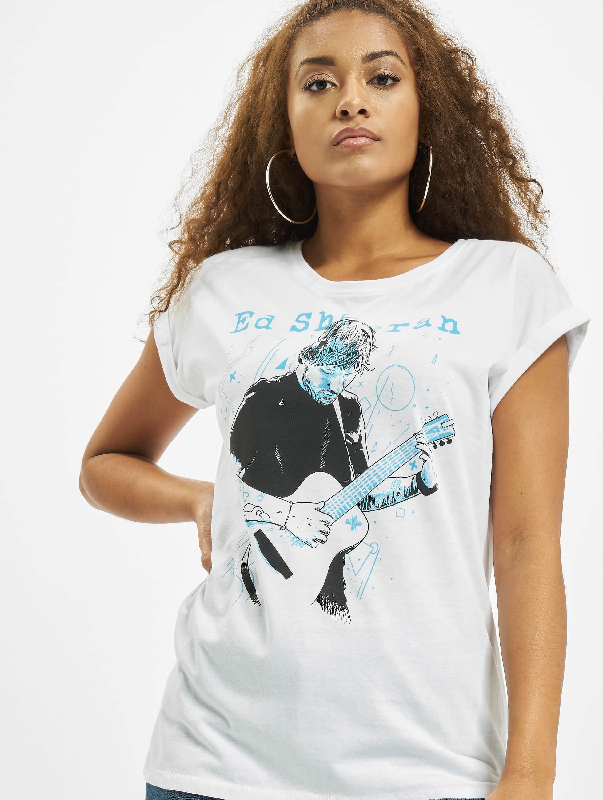 Merchcode T-Shirt Ladies Ed Sheeran Guitar weiß