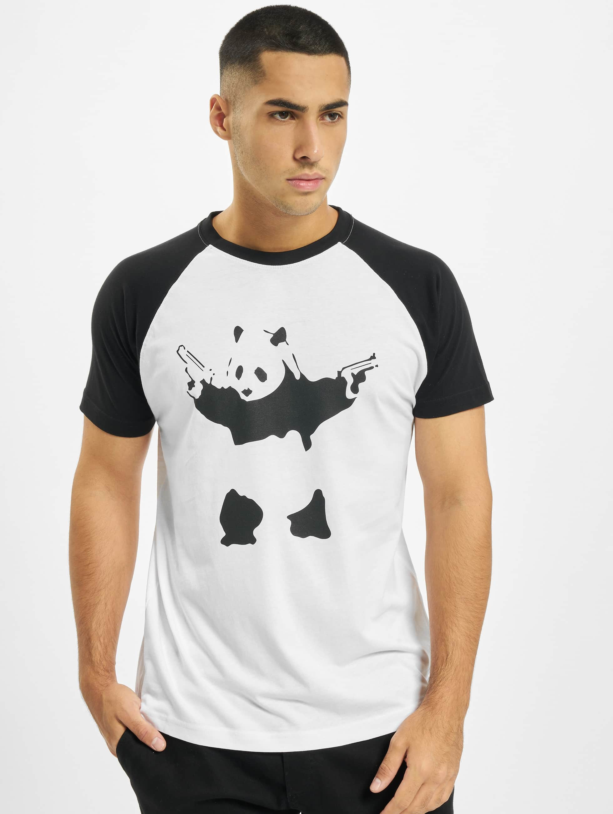 Merchcode t-shirt Banksy Panda Raglan wit