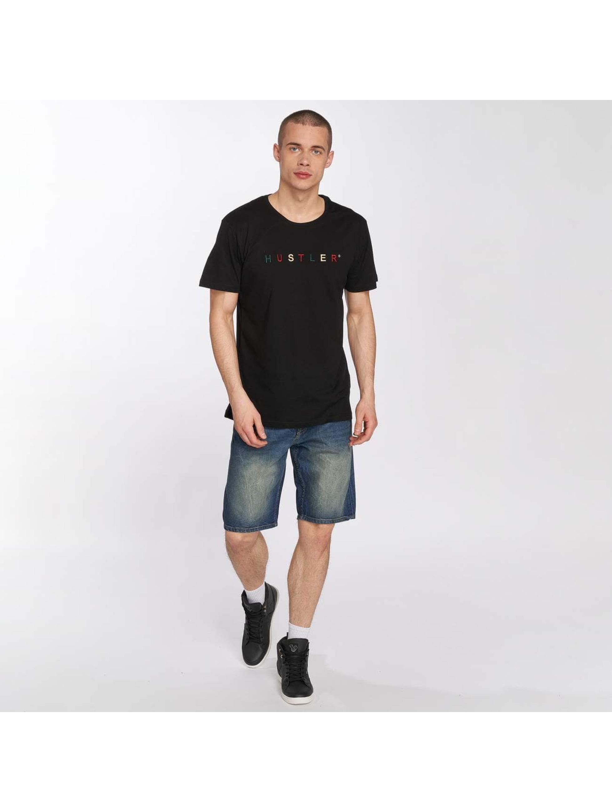 Merchcode t-shirt Hustler Embroidery zwart