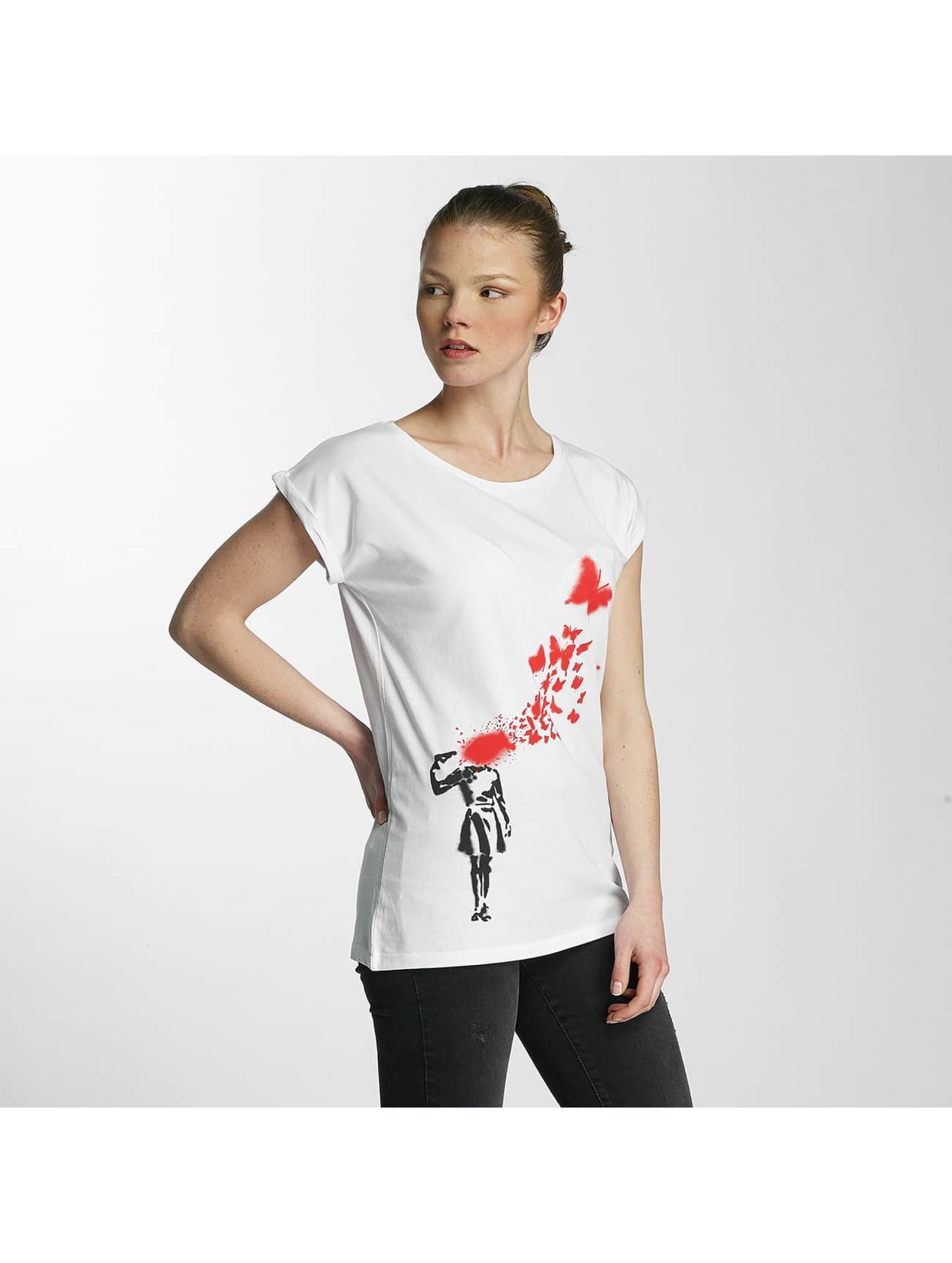 Merchcode T-shirts Ladies Banksy hvid