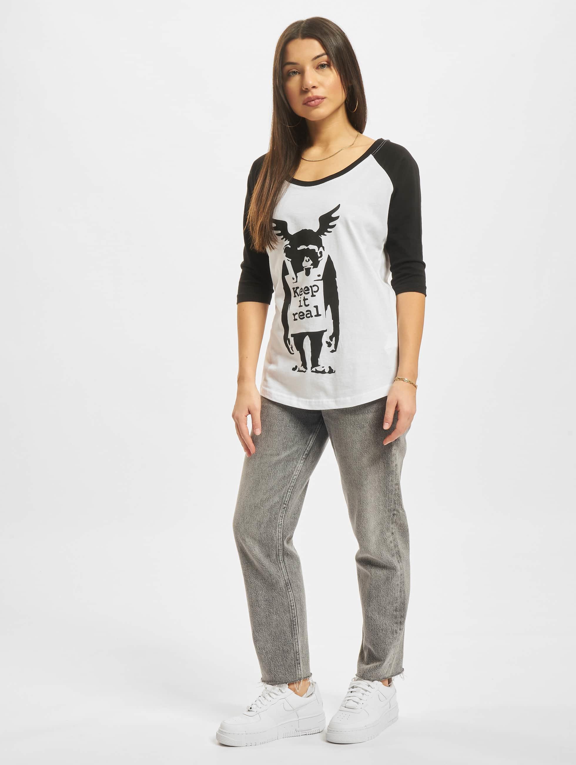 Merchcode T-shirts Ladies Banksy Ape Raglan hvid