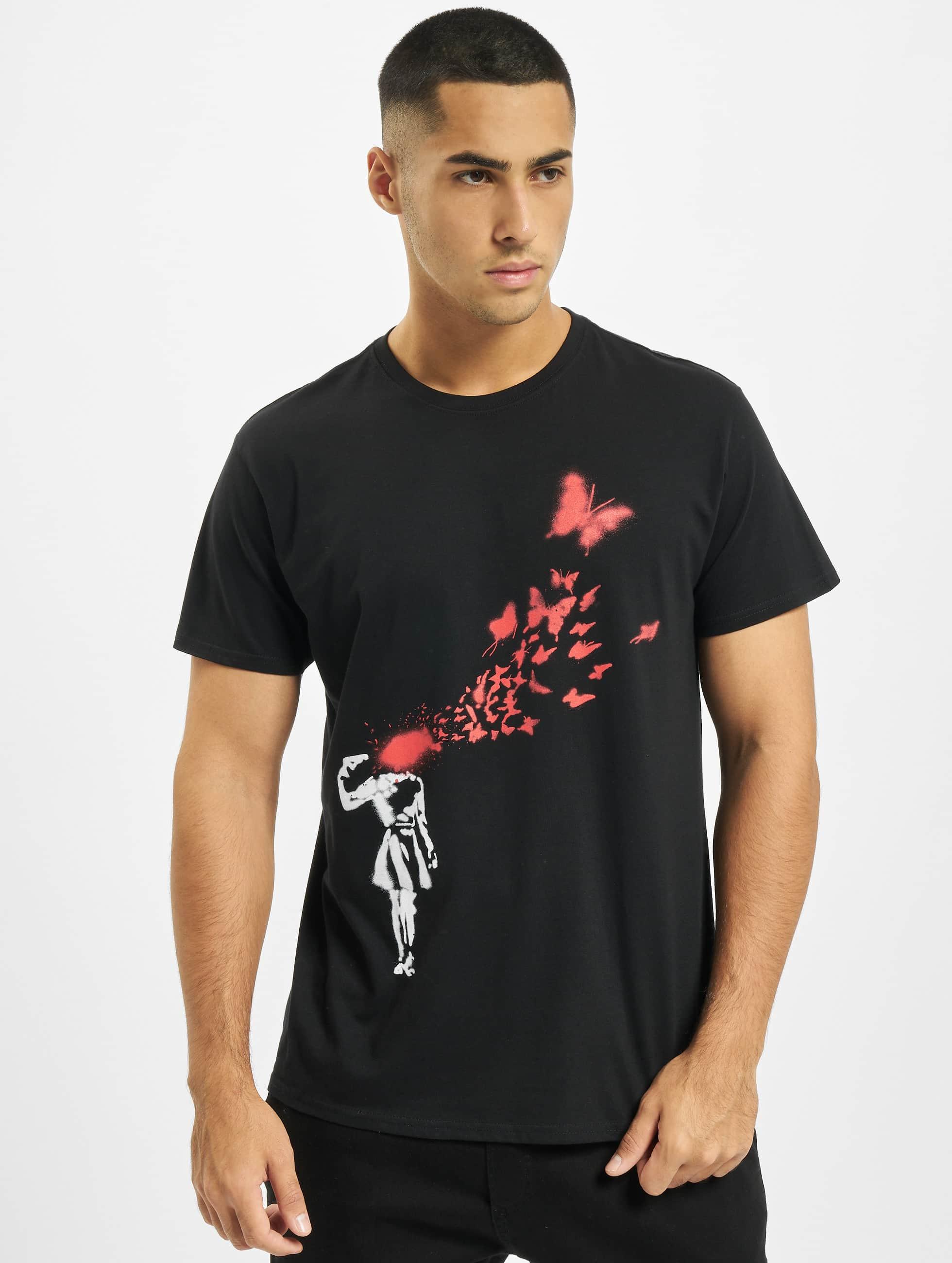 Merchcode T-Shirty Banksy Butterfly czarny