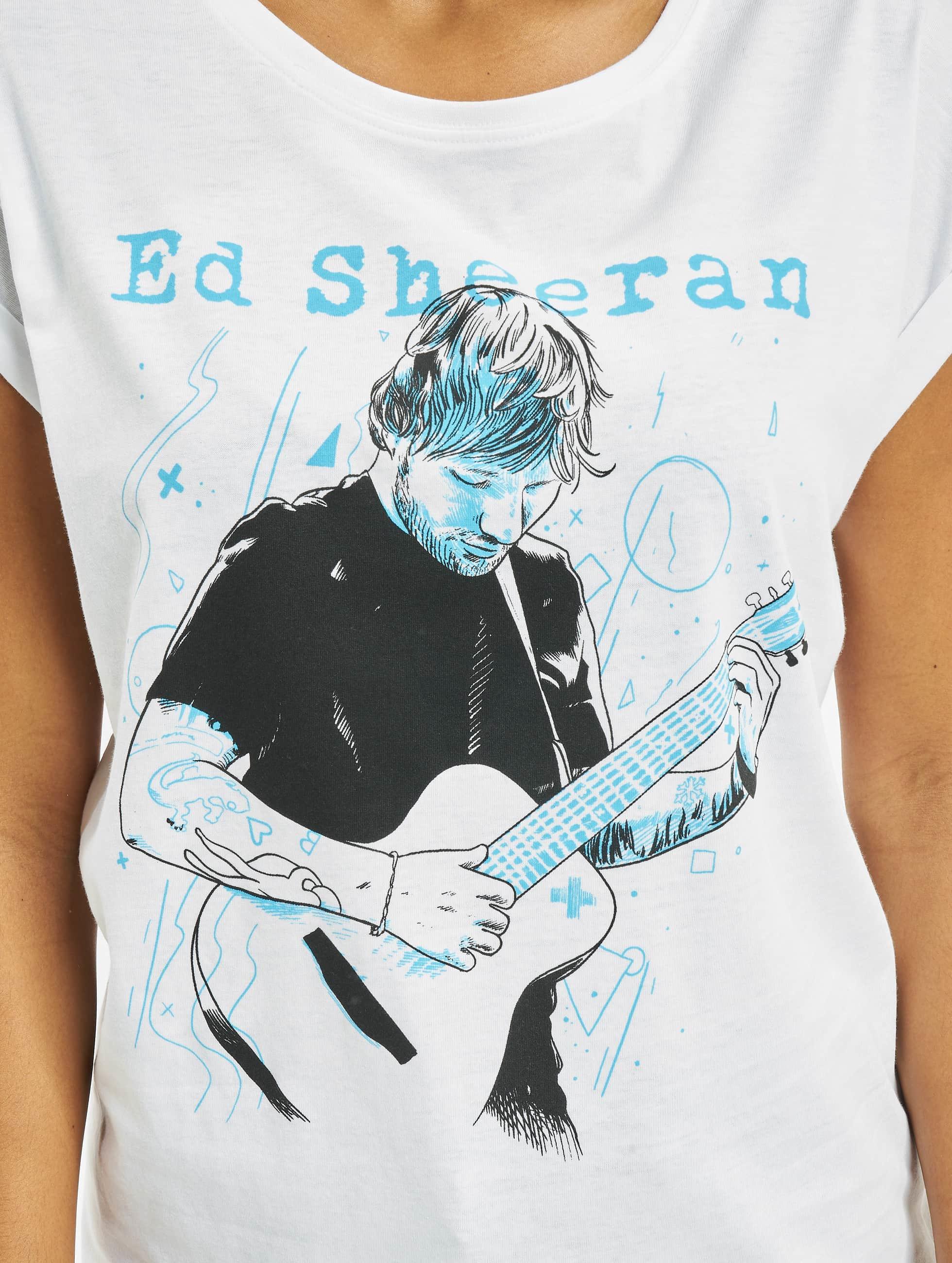 Merchcode T-skjorter Ladies Ed Sheeran Guitar hvit