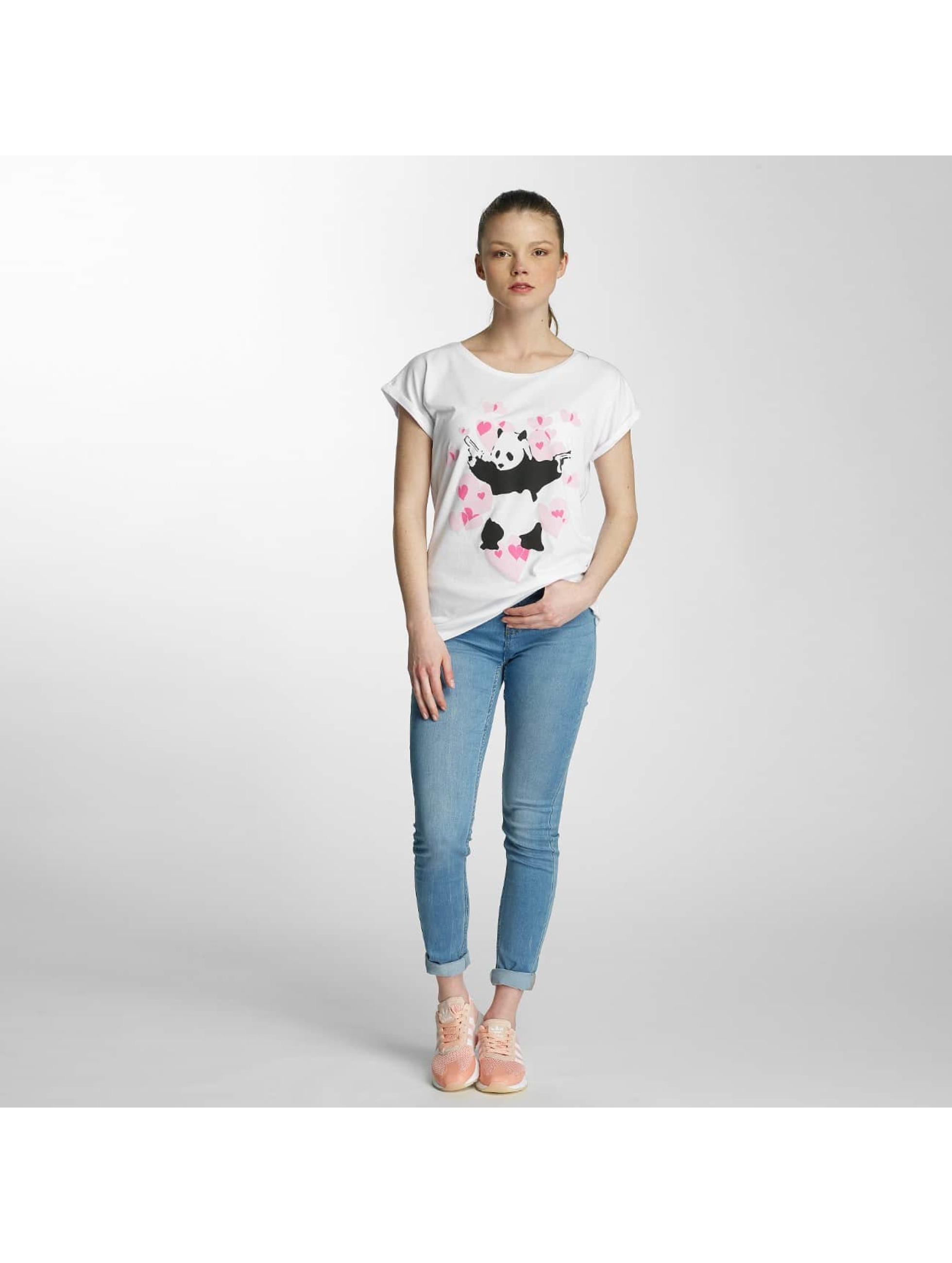 Merchcode T-skjorter Ladies Banksy Panda Heart hvit