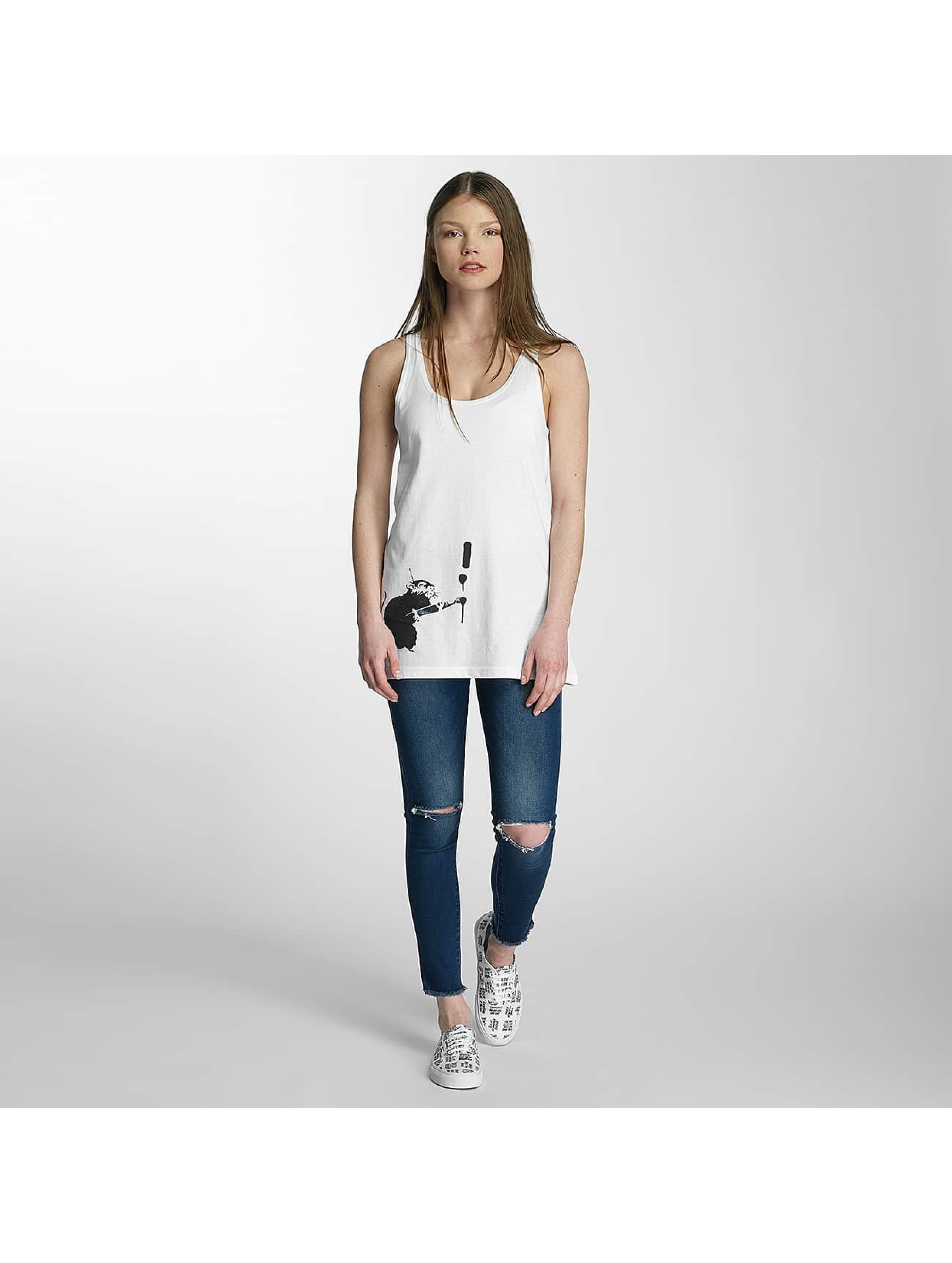 Merchcode Tank Tops Ladies Banksy Painter Rat blanco
