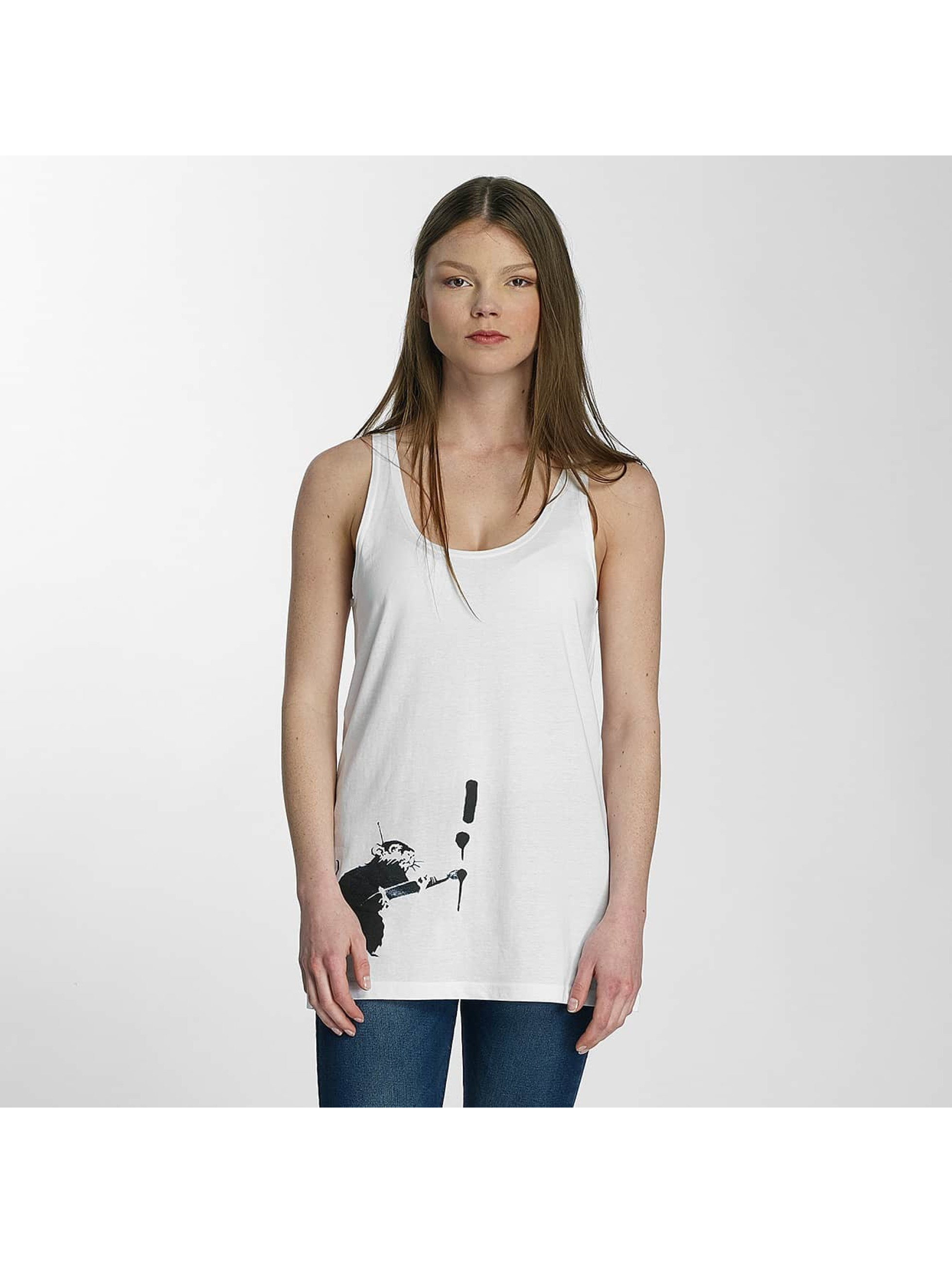 Merchcode Tanktop Ladies Banksy Painter Rat wit