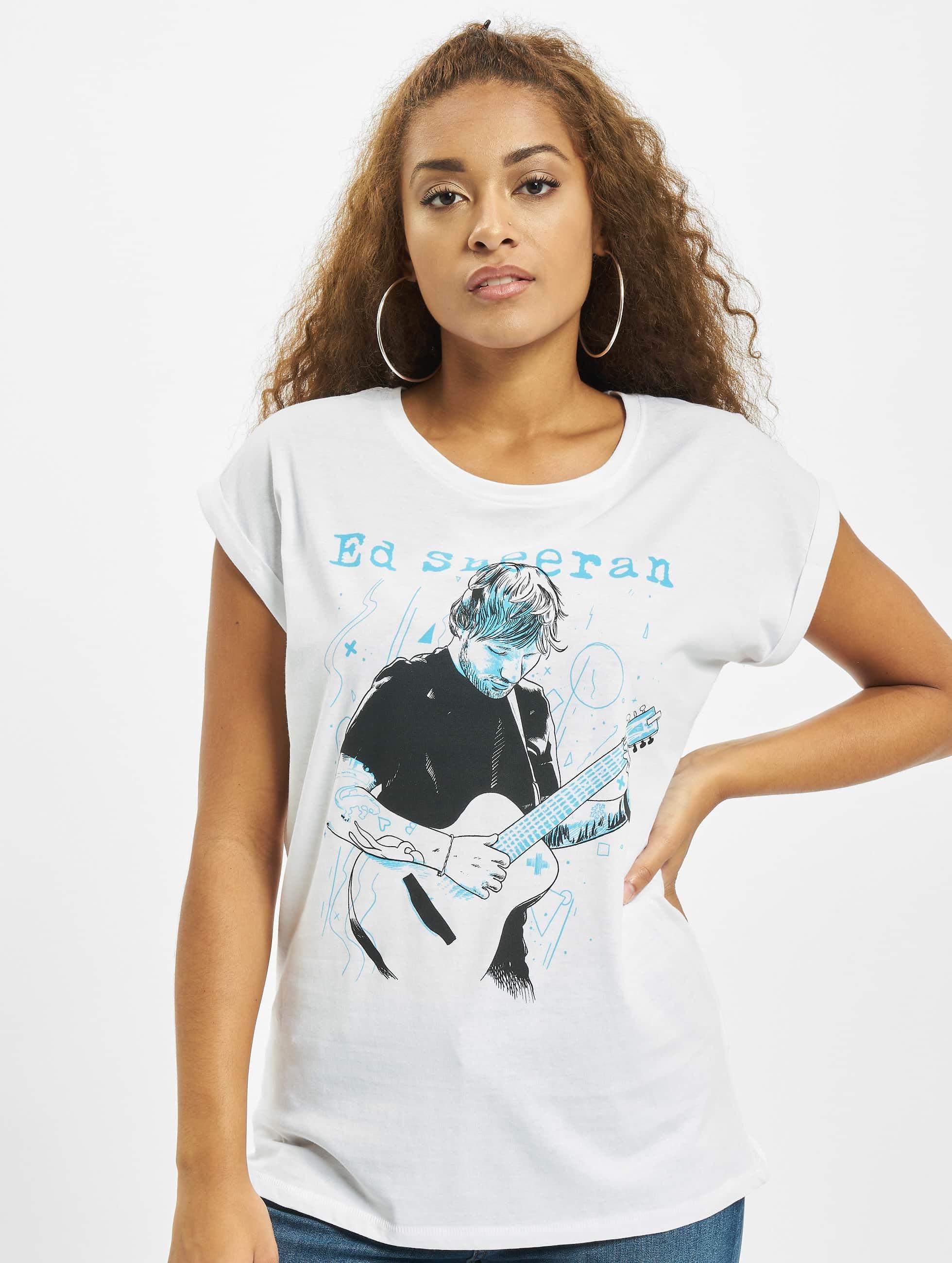 Merchcode Tričká Ladies Ed Sheeran Guitar biela