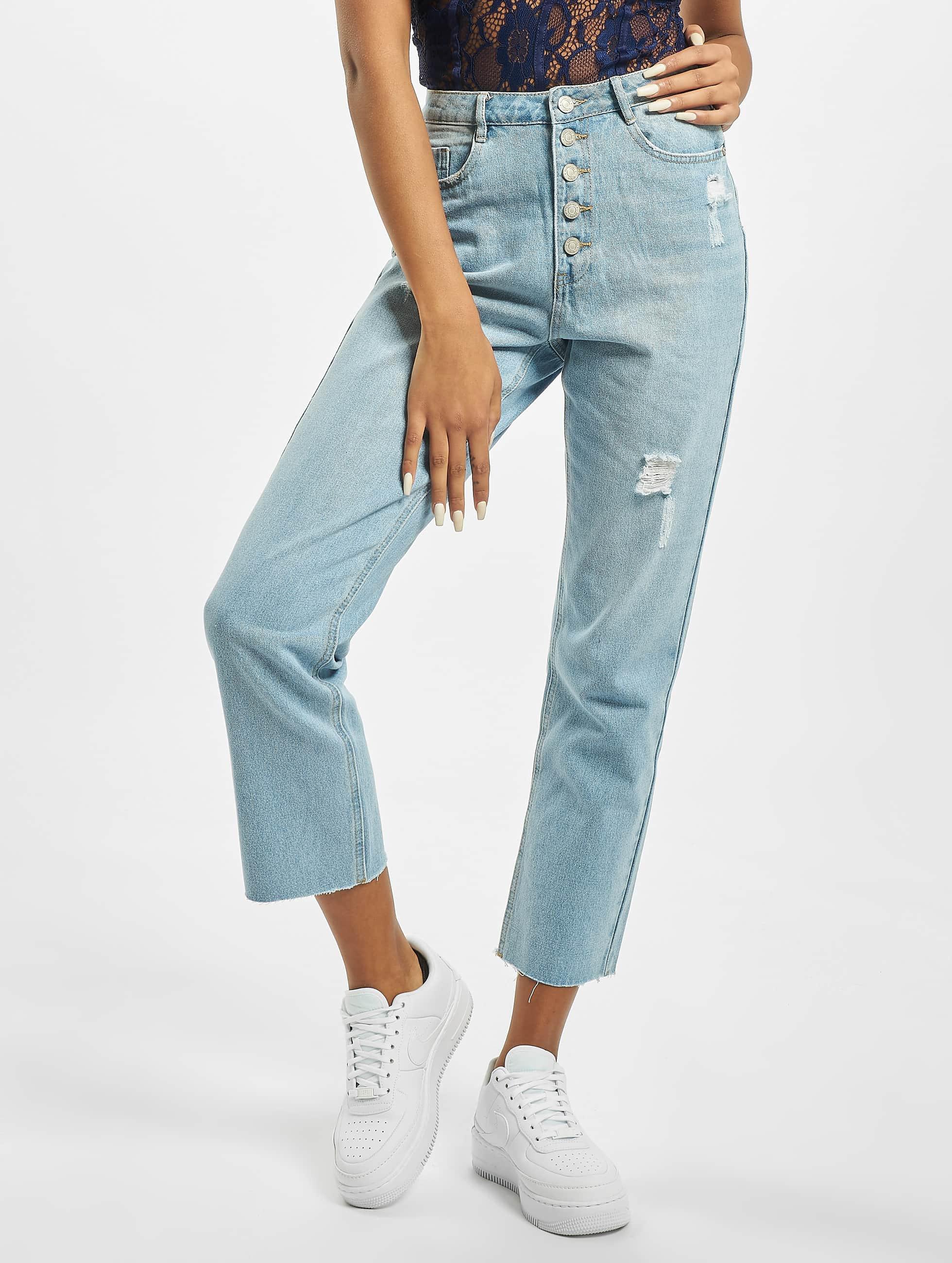 Missguided Wrath Straight Leg High Waist Jeans Blue