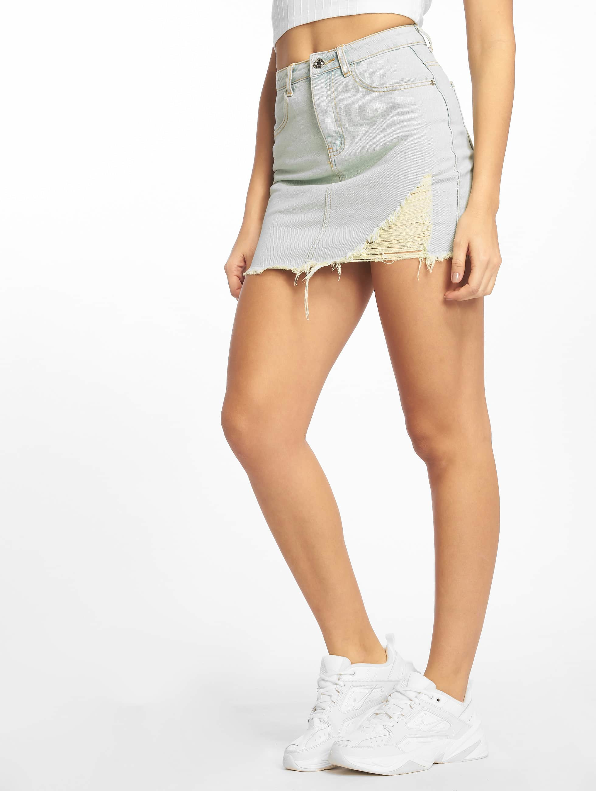 Missguided Vintage Asymetric Rip Denim Skirt Light Blue