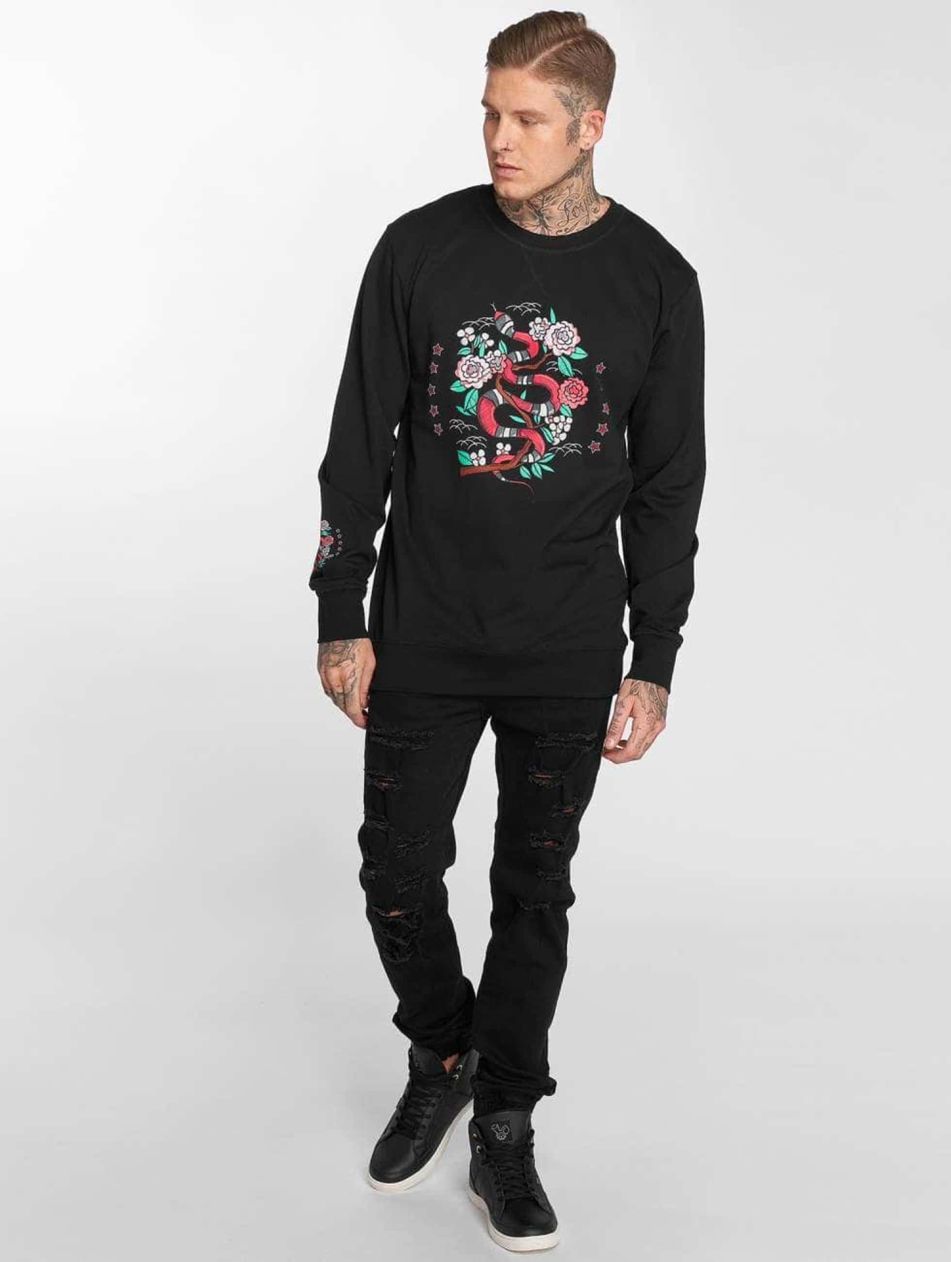 Mister Tee Пуловер Snake Flowers черный