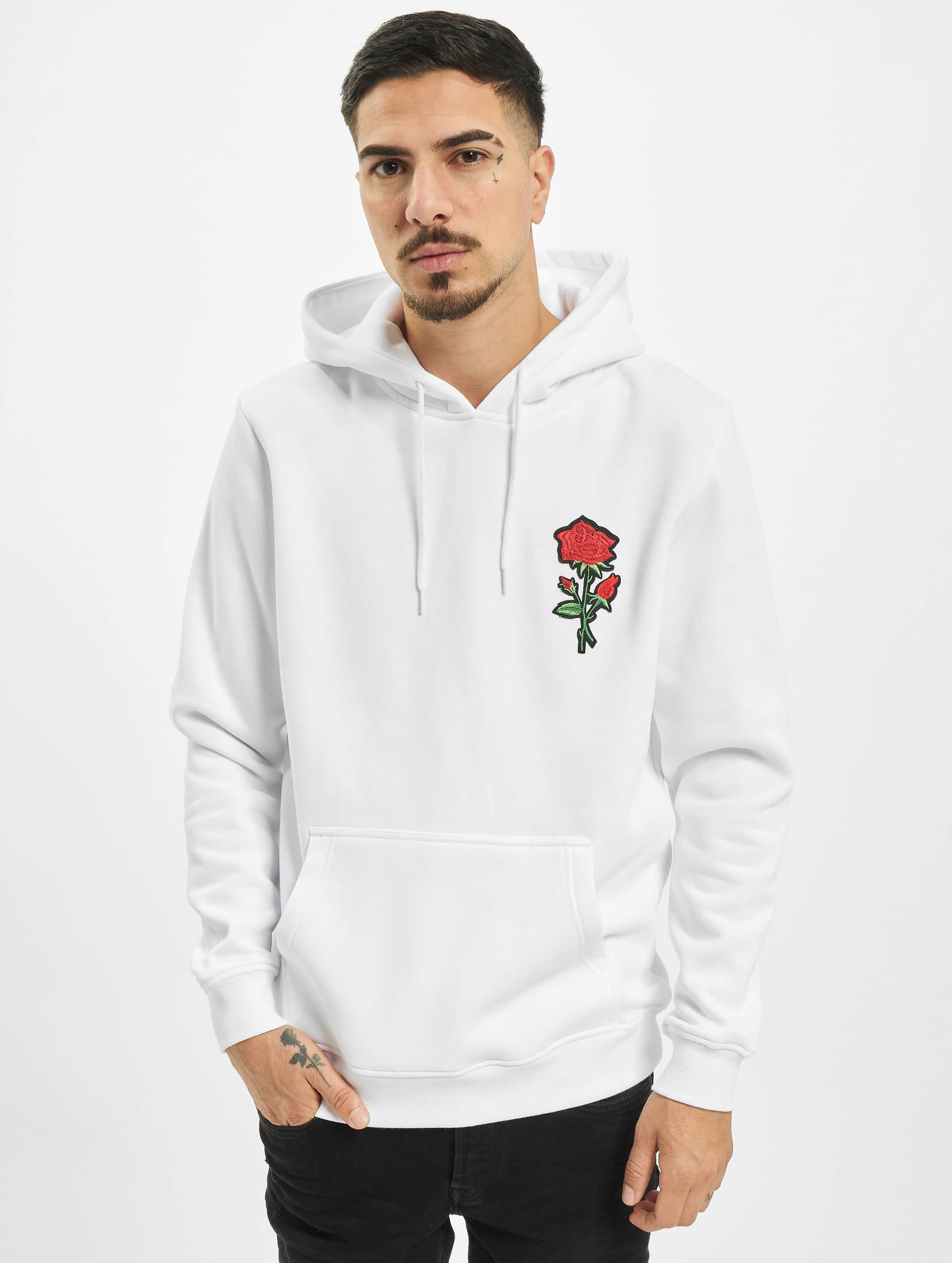 Mister Tee Sweat capuche Embroidered Rose blanc