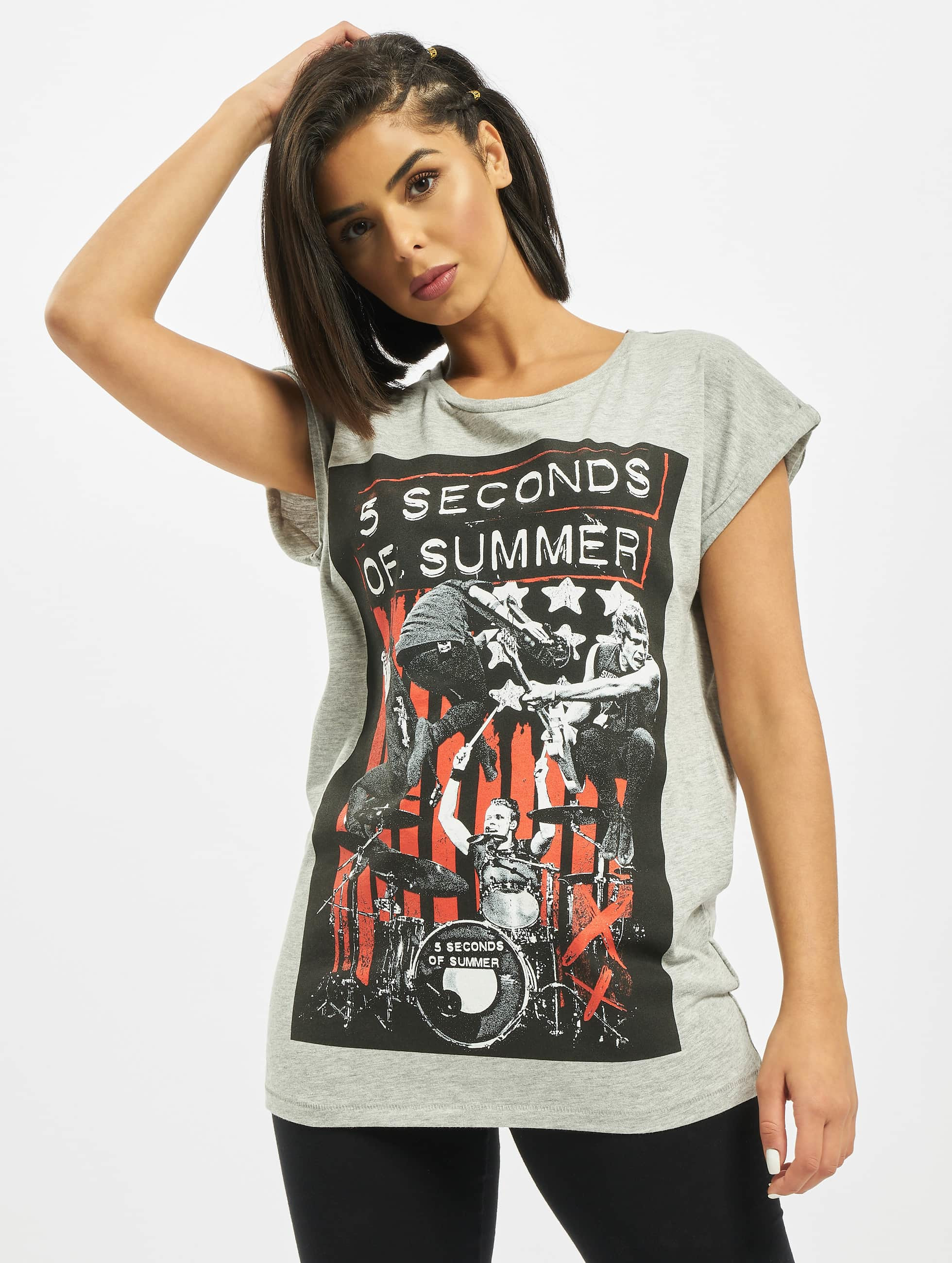 Mister Tee T-paidat Ladies Five Seconds Of Summer Longprint harmaa