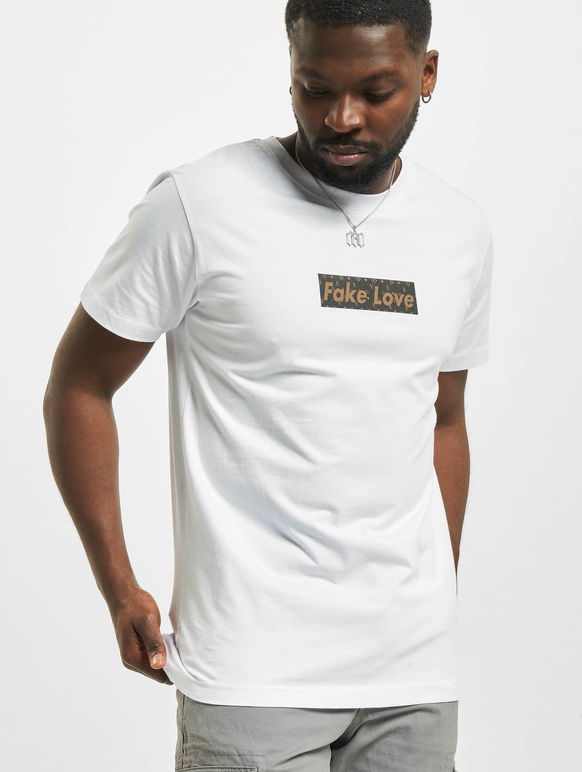 Mister Tee T-shirt Fake Love bianco