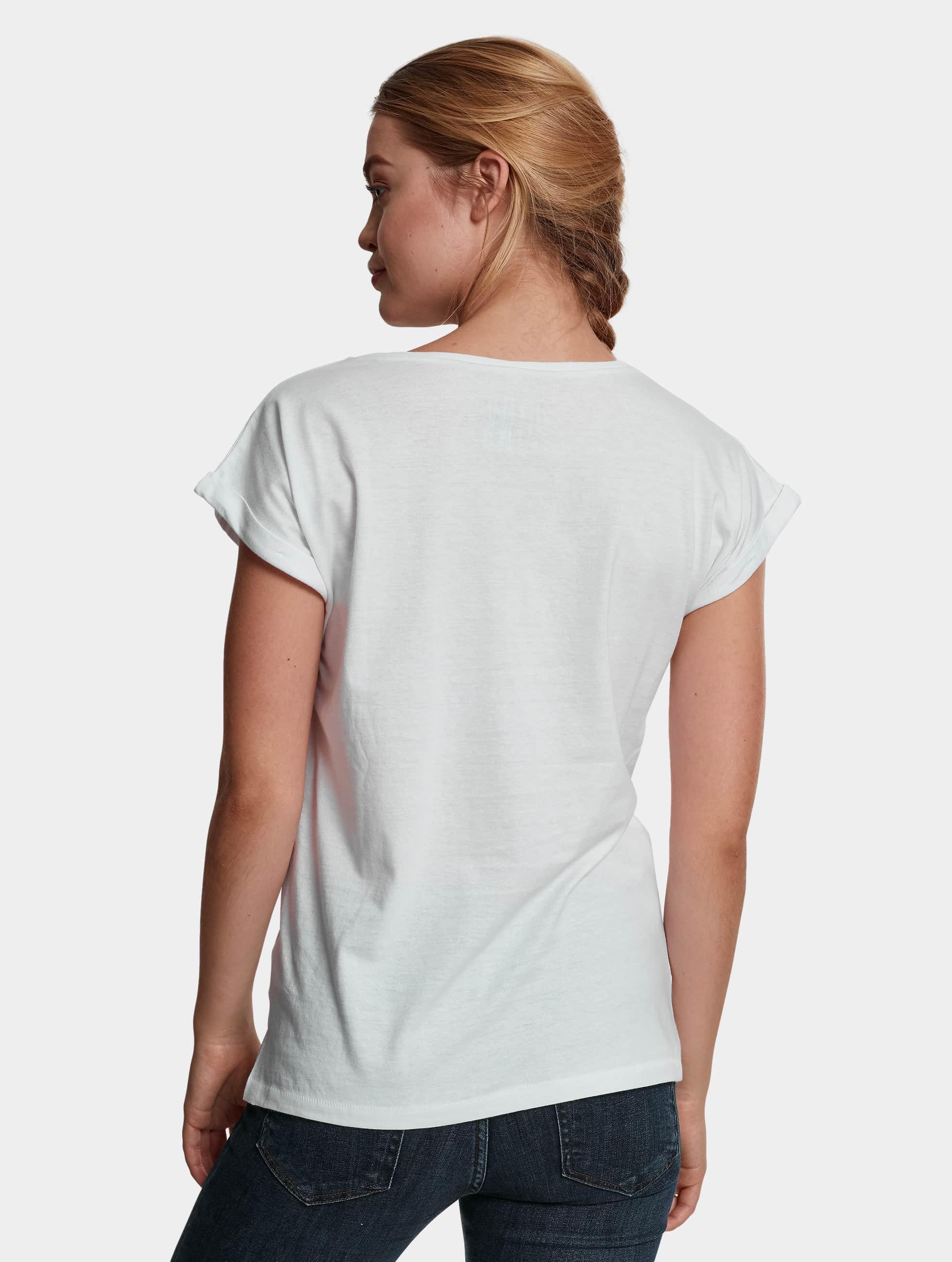 Mister Tee T-Shirt Ladies Pink Portrait blanc