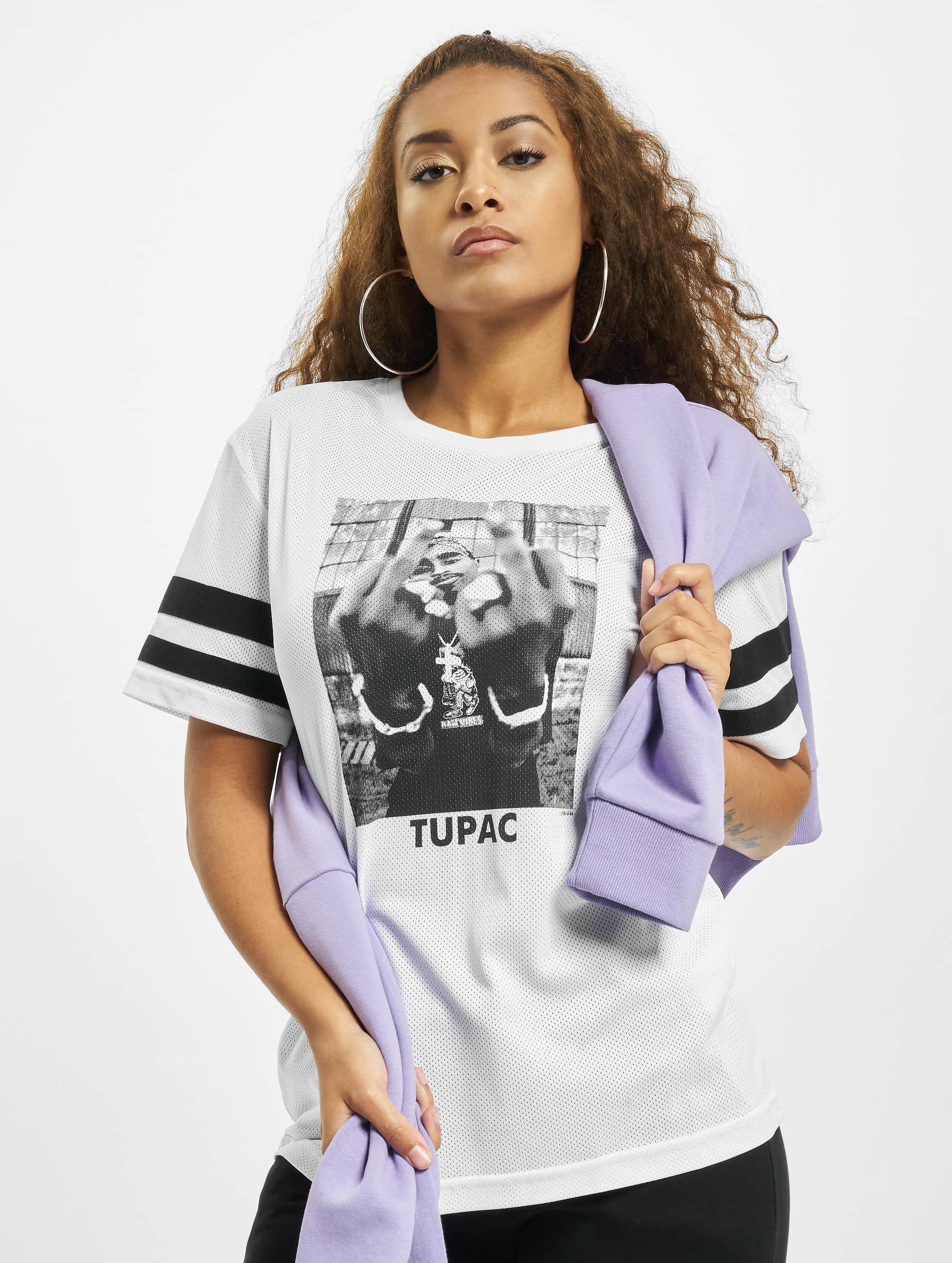 Mister Tee T-Shirt 2Pac Stripes blanc