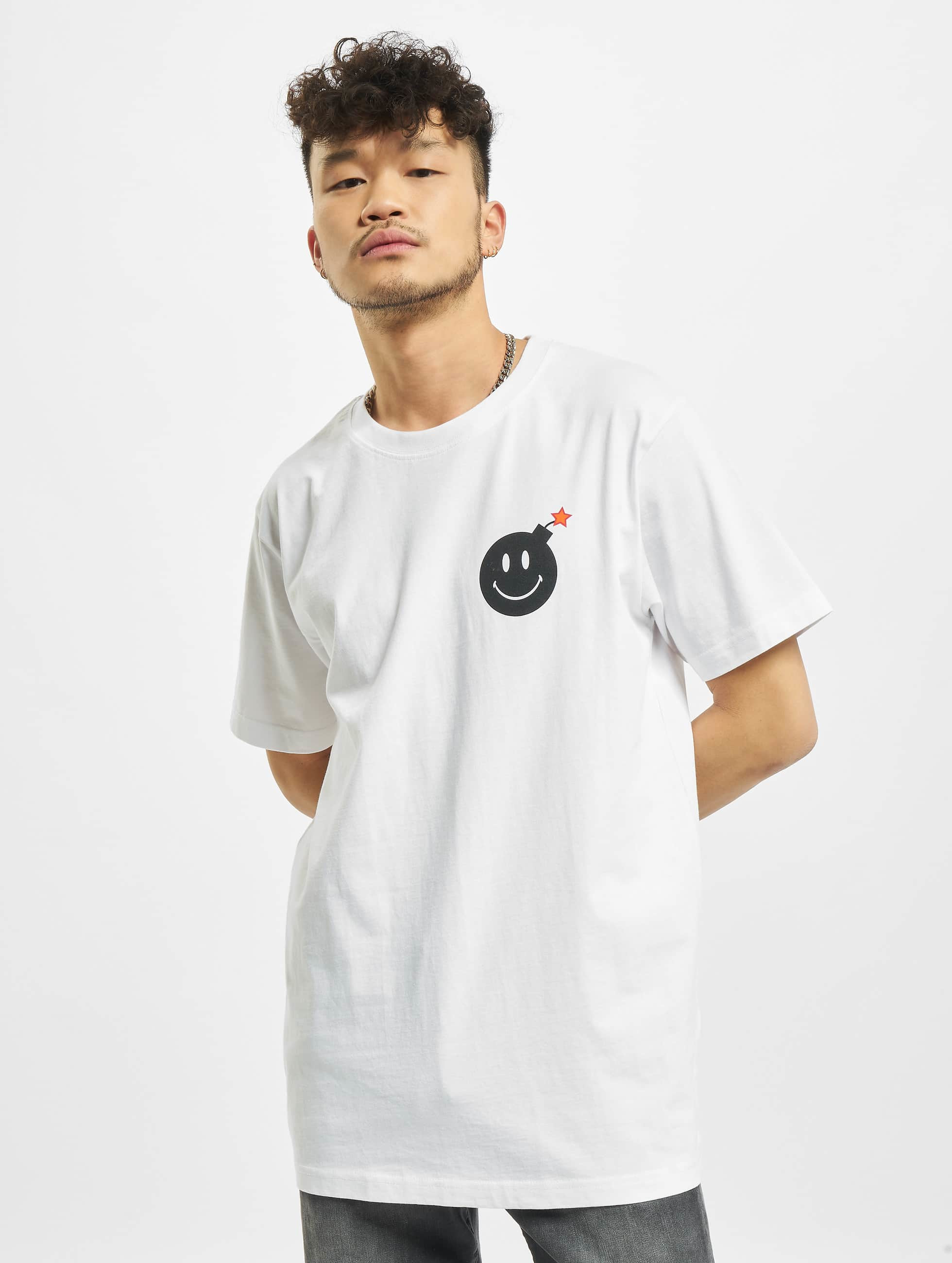 Mister Tee T-Shirt Smiley Bomb blanc