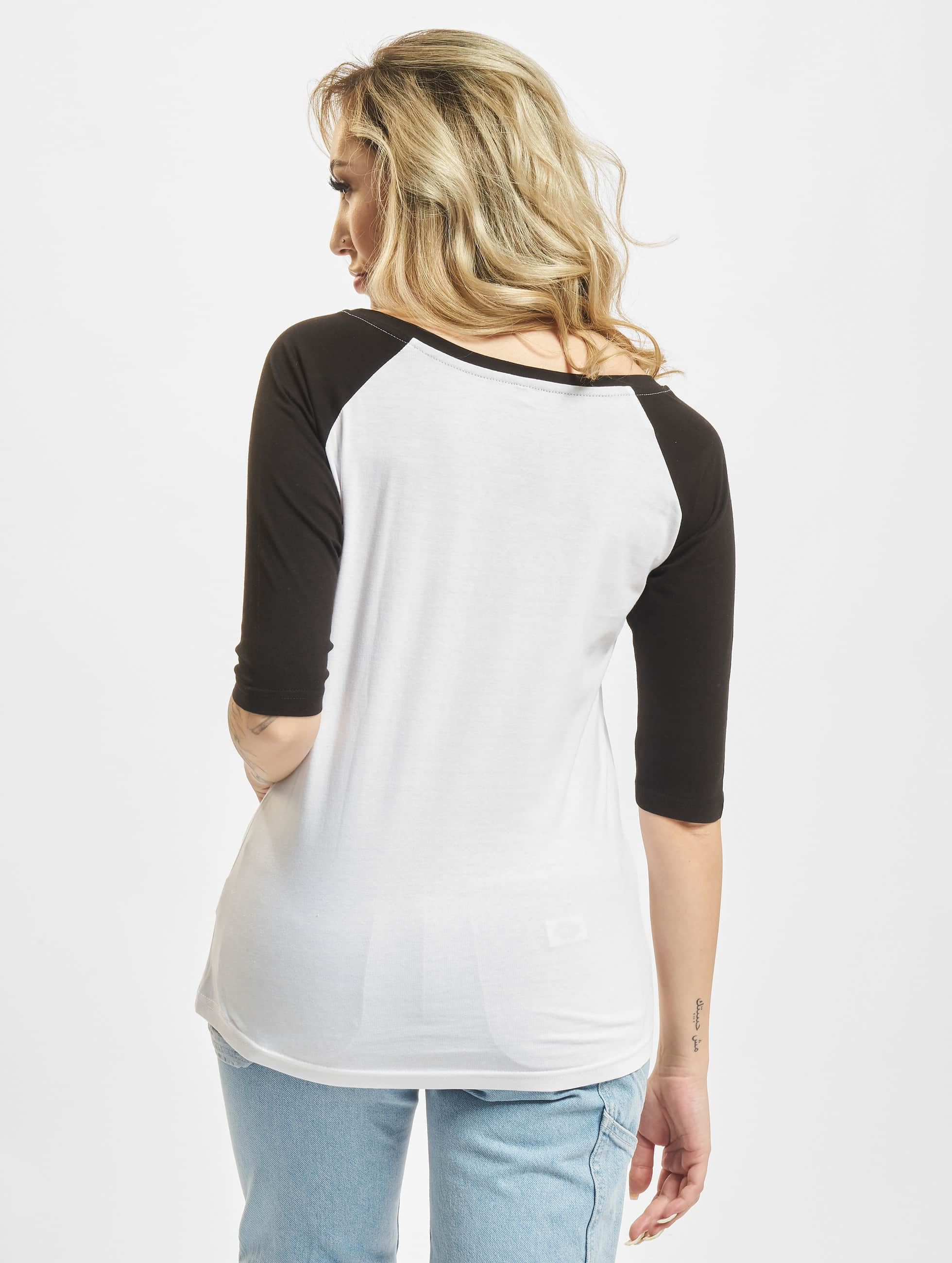Mister Tee T-Shirt manches longues Ladies 5 Seconds Of Summer Stacked Raglan blanc