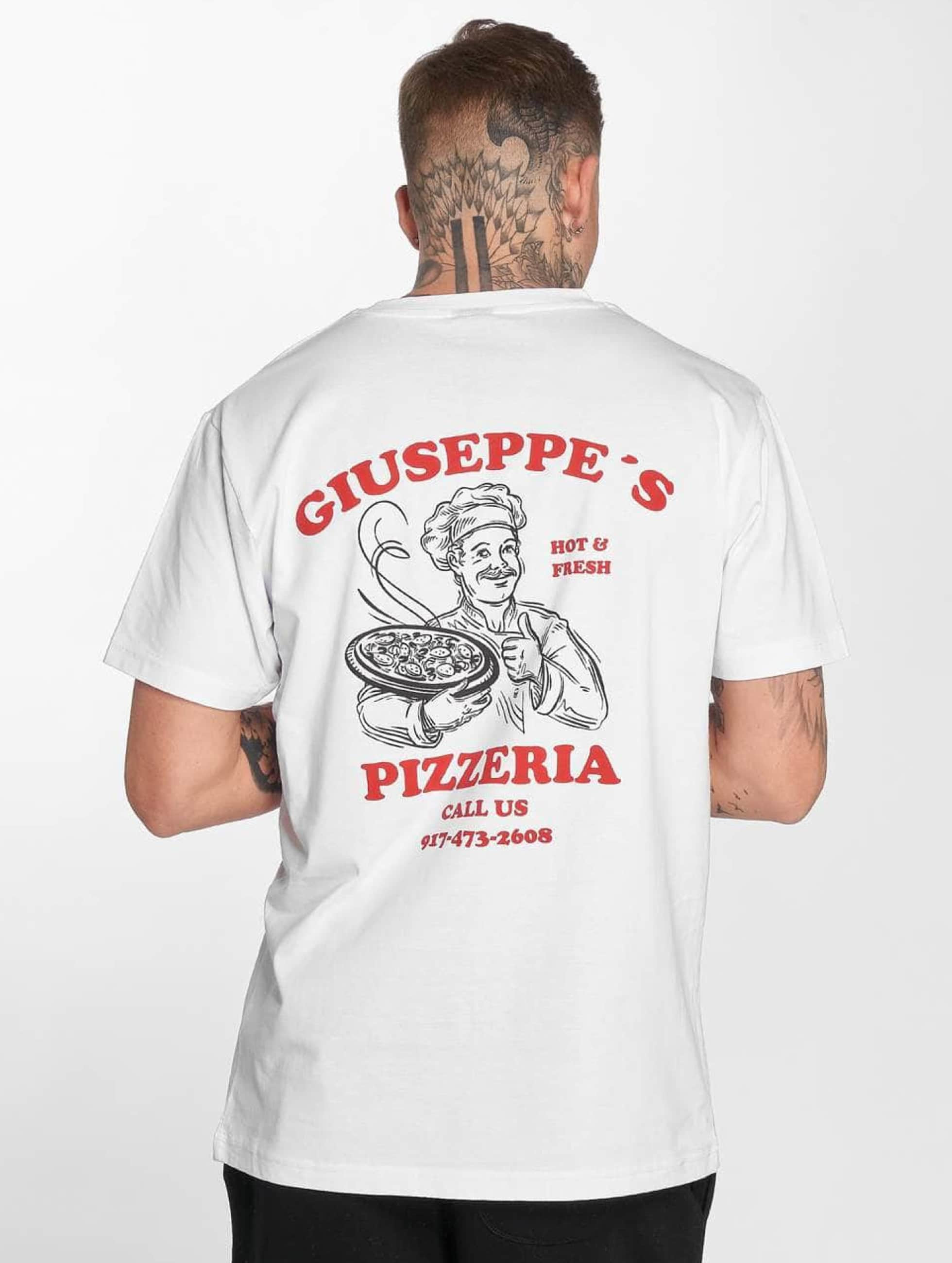 Mister Tee t-shirt Giuseppes Pizzeria wit
