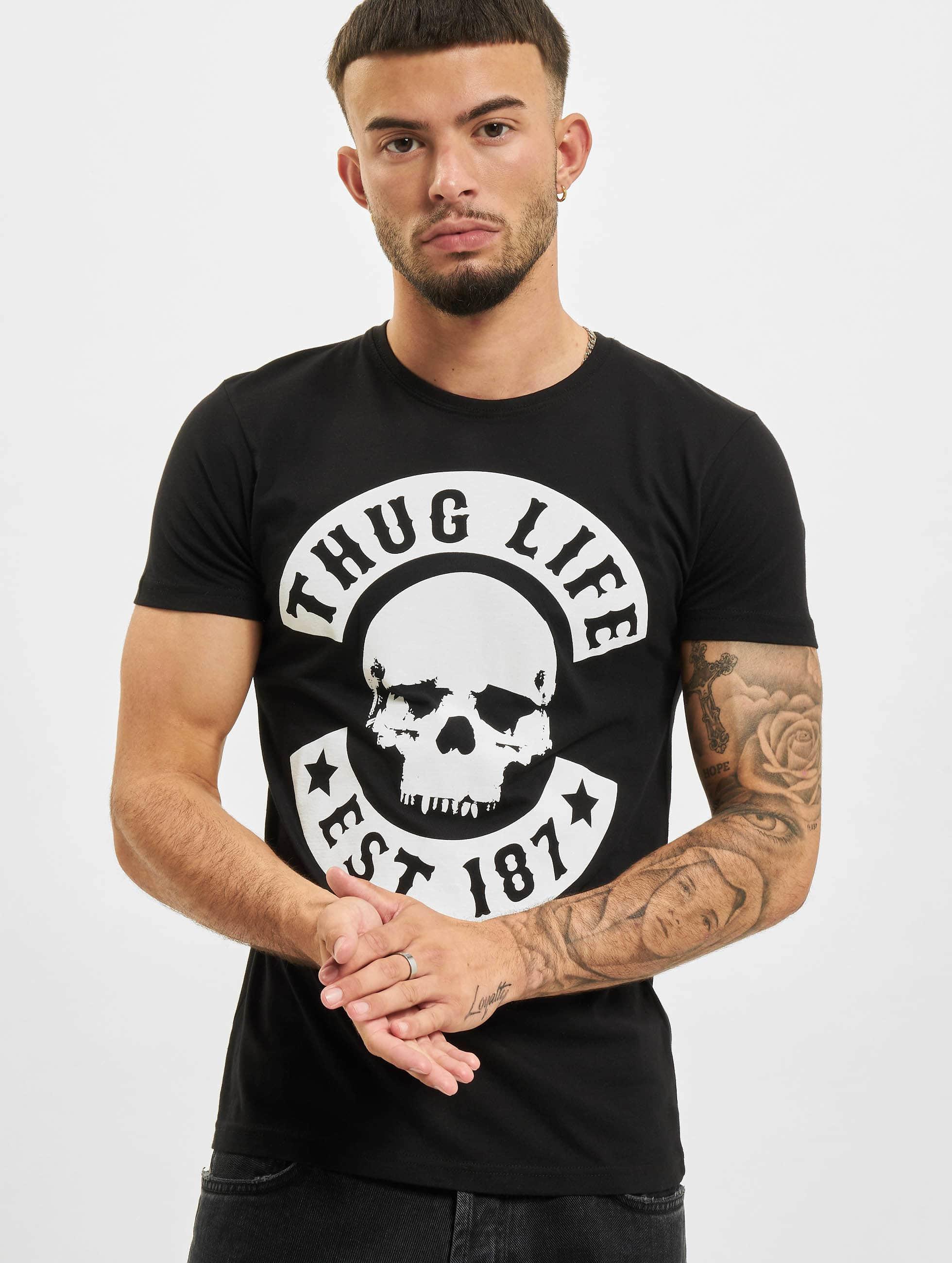 Mister Tee T-skjorter Thug Life Skull svart