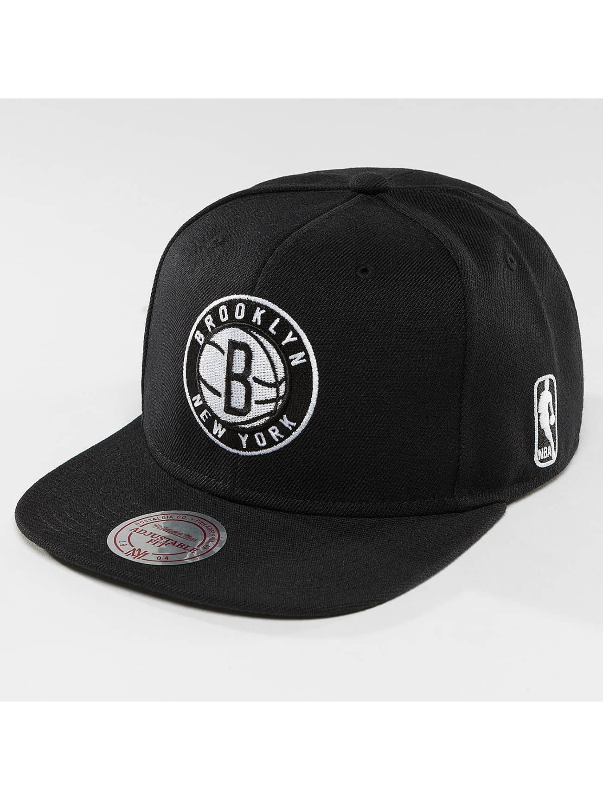 Mitchell & Ness Snapback Caps Black & White Brookyln Nets musta