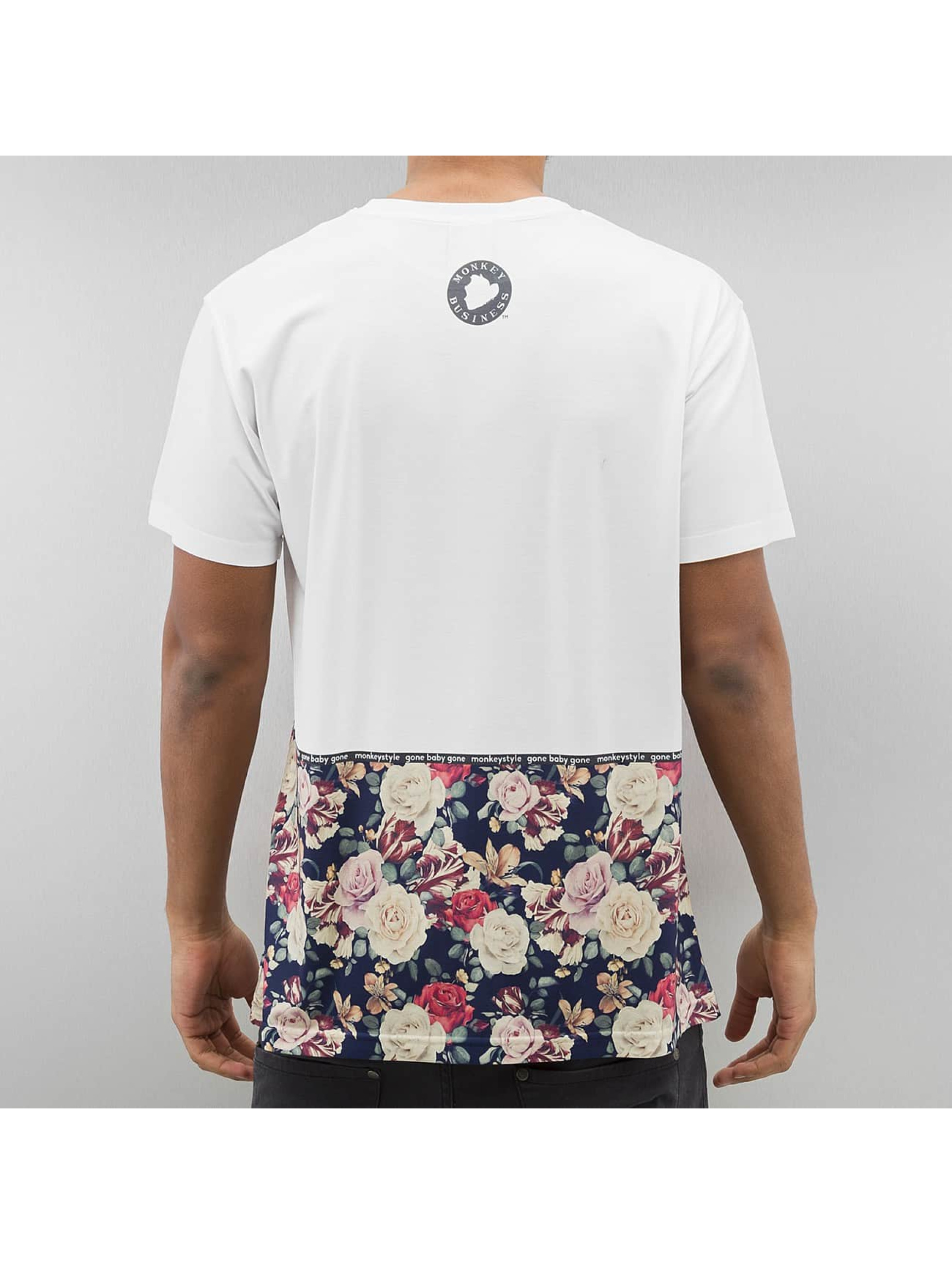 Monkey Business T-Shirt Flowers Hem white
