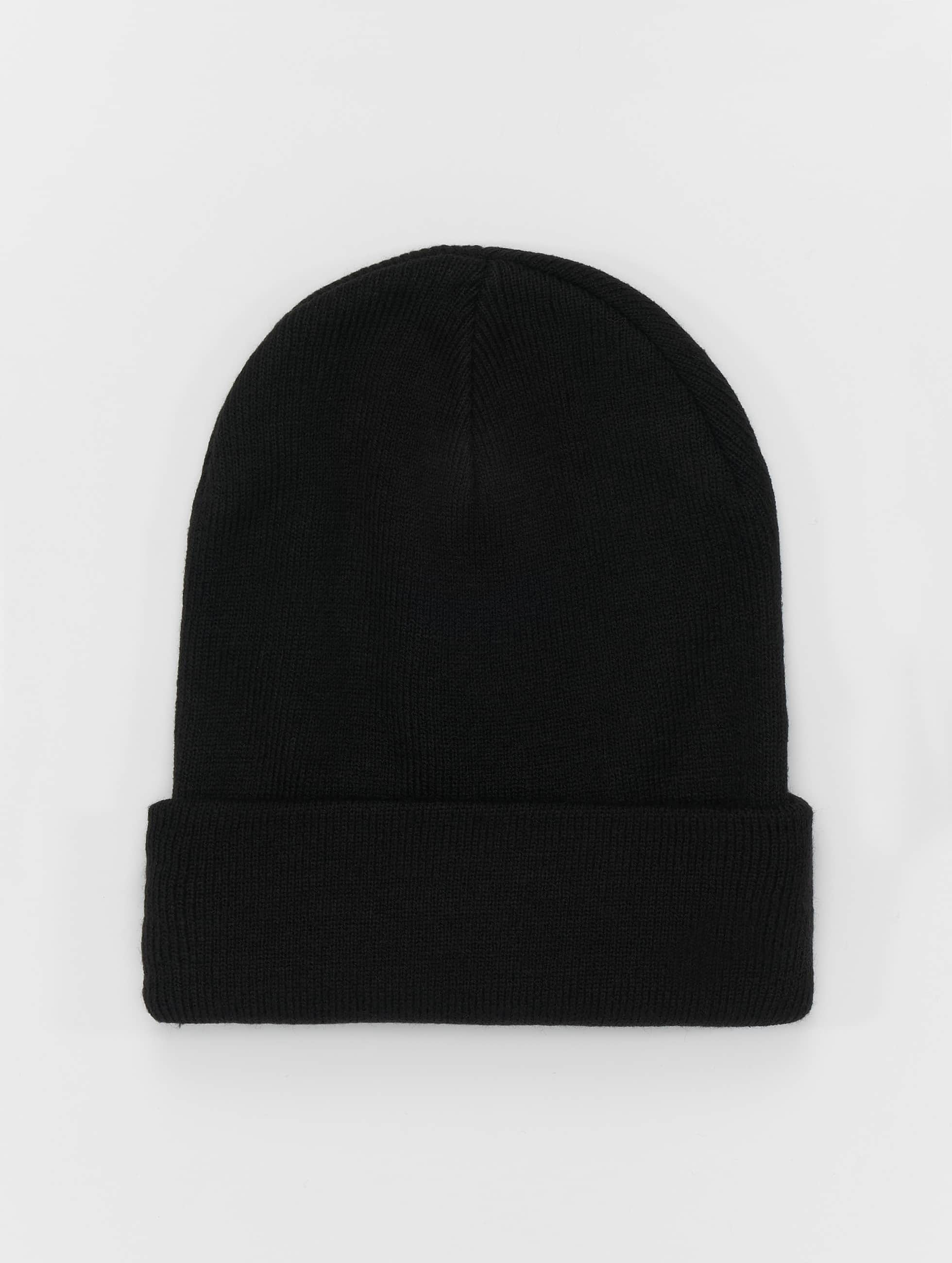 Beanie Basic Flap Long in schwarz